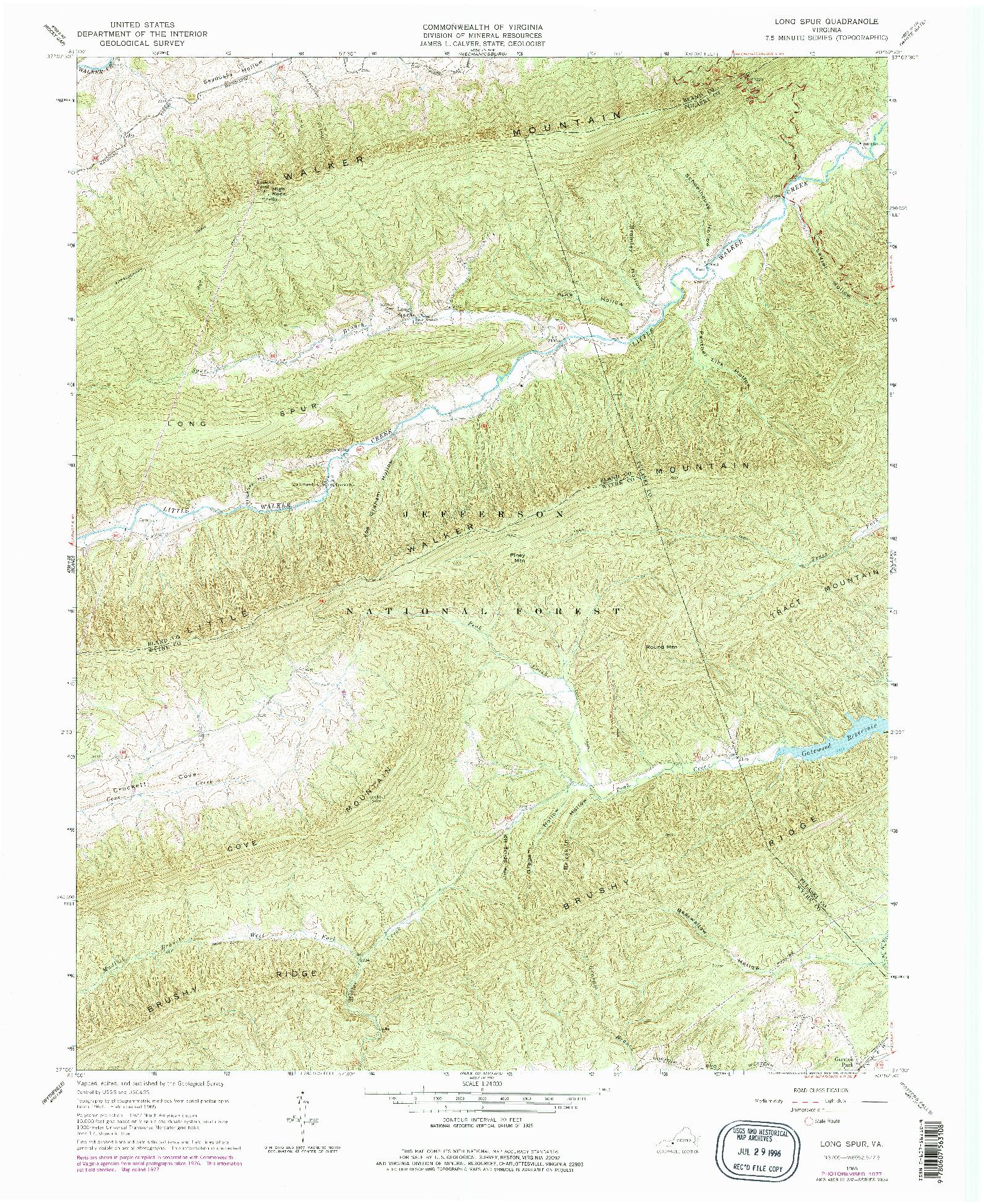 USGS 1:24000-SCALE QUADRANGLE FOR LONG SPUR, VA 1965