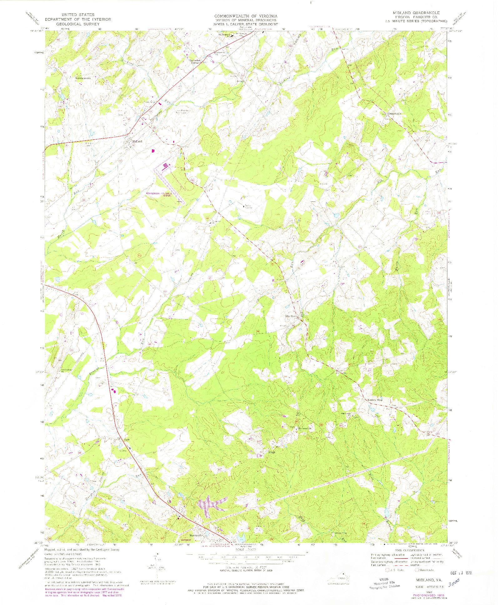 USGS 1:24000-SCALE QUADRANGLE FOR MIDLAND, VA 1967