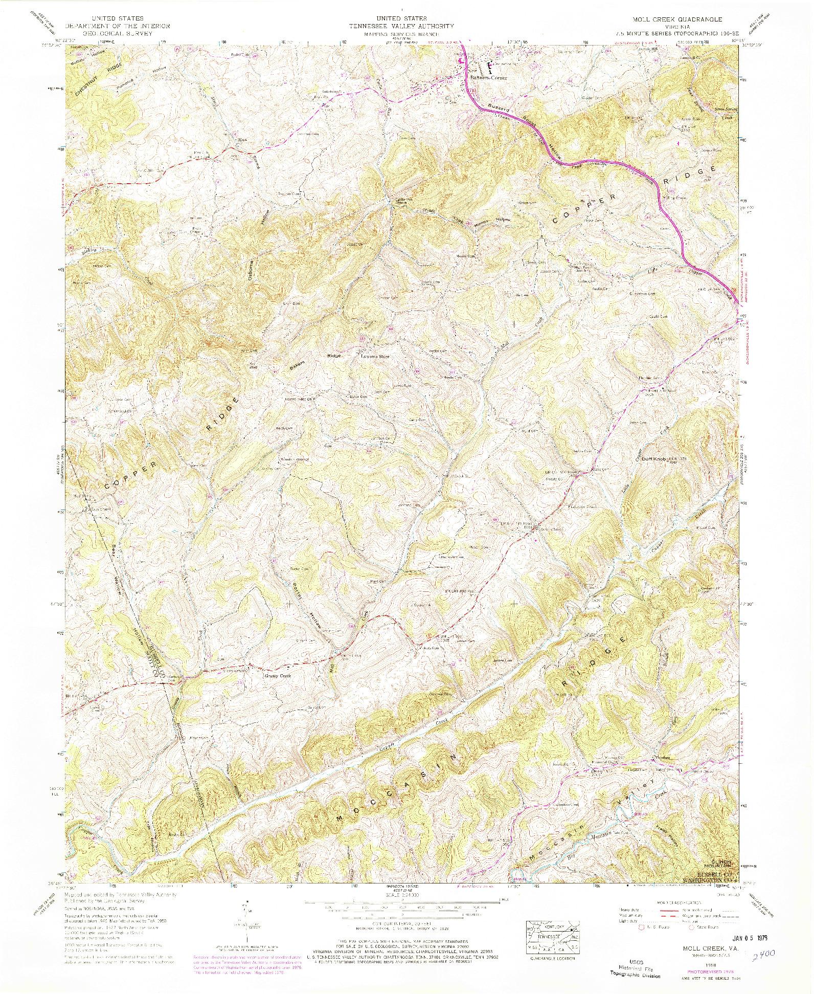 USGS 1:24000-SCALE QUADRANGLE FOR MOLL CREEK, VA 1958