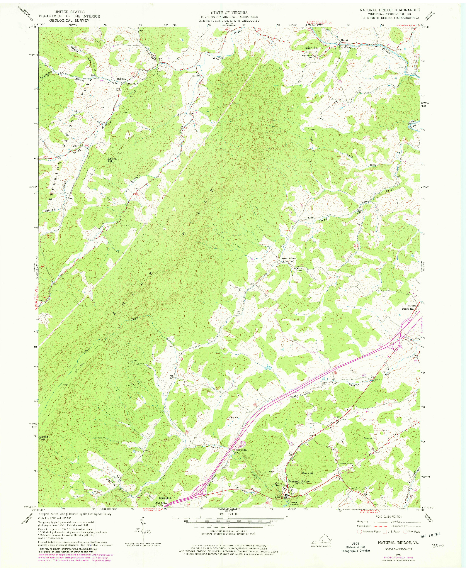 USGS 1:24000-SCALE QUADRANGLE FOR NATURAL BRIDGE, VA 1961