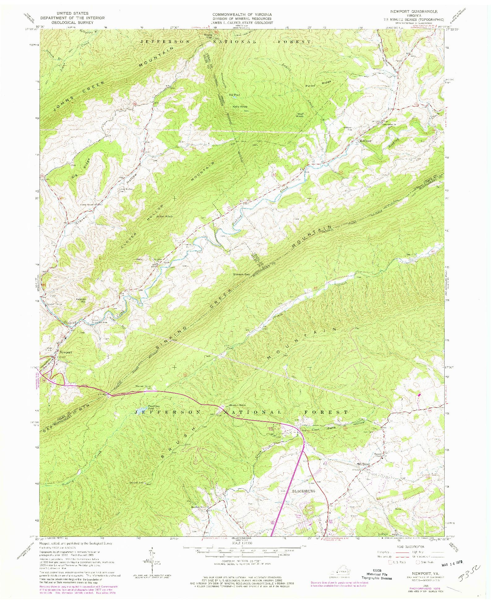 USGS 1:24000-SCALE QUADRANGLE FOR NEWPORT, VA 1965