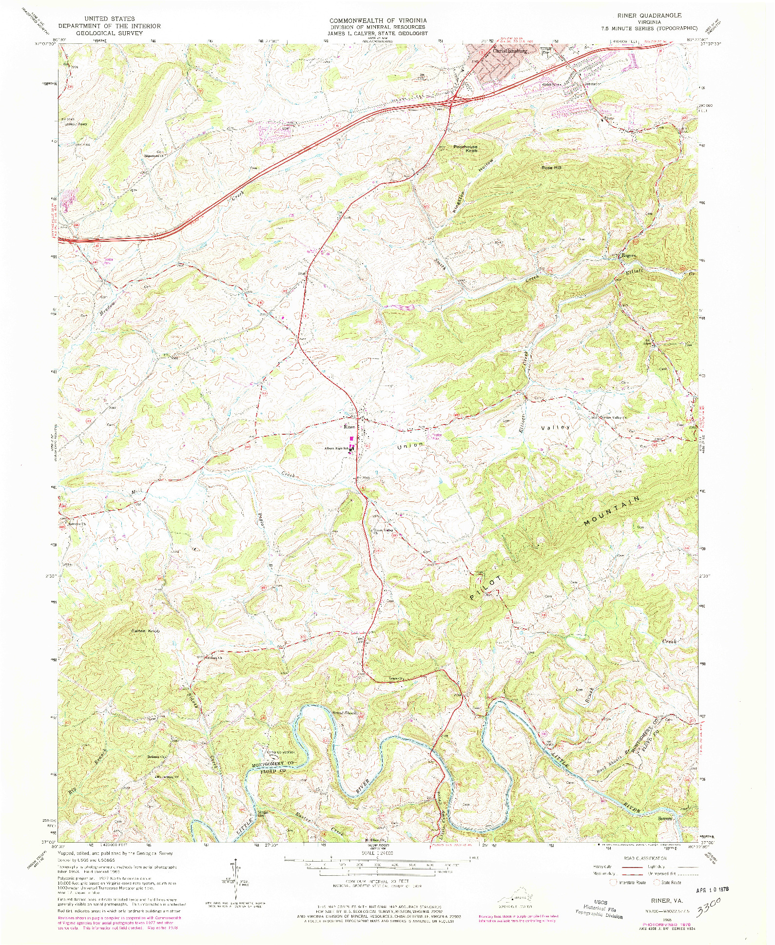 USGS 1:24000-SCALE QUADRANGLE FOR RINER, VA 1965