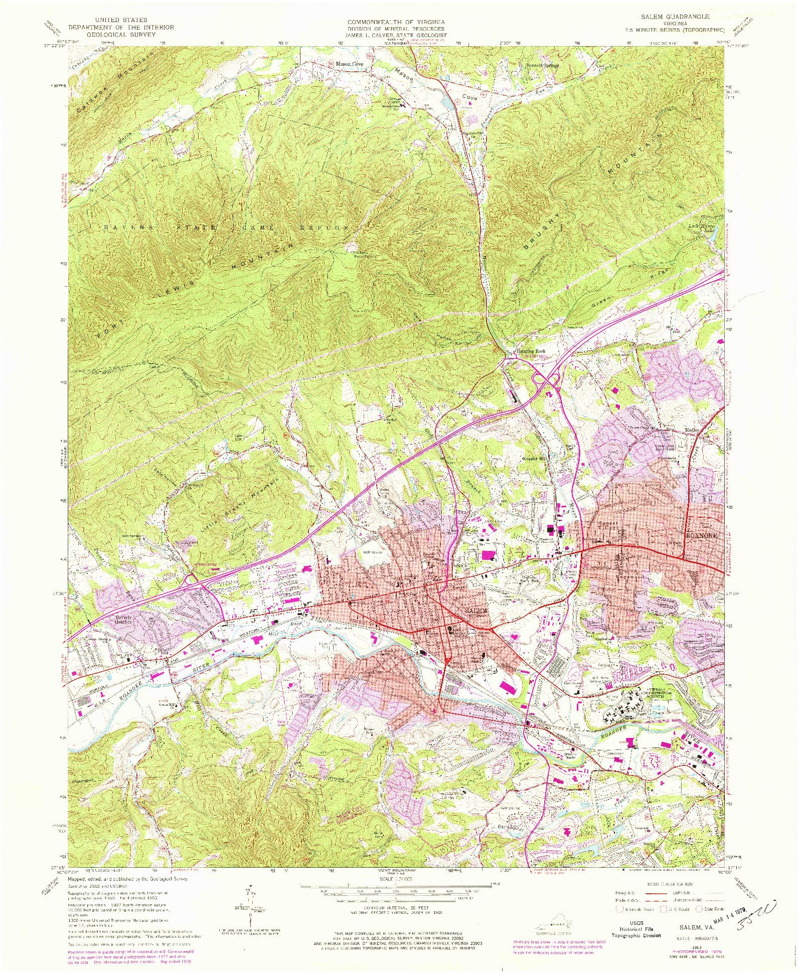 USGS 1:24000-SCALE QUADRANGLE FOR SALEM, VA 1963