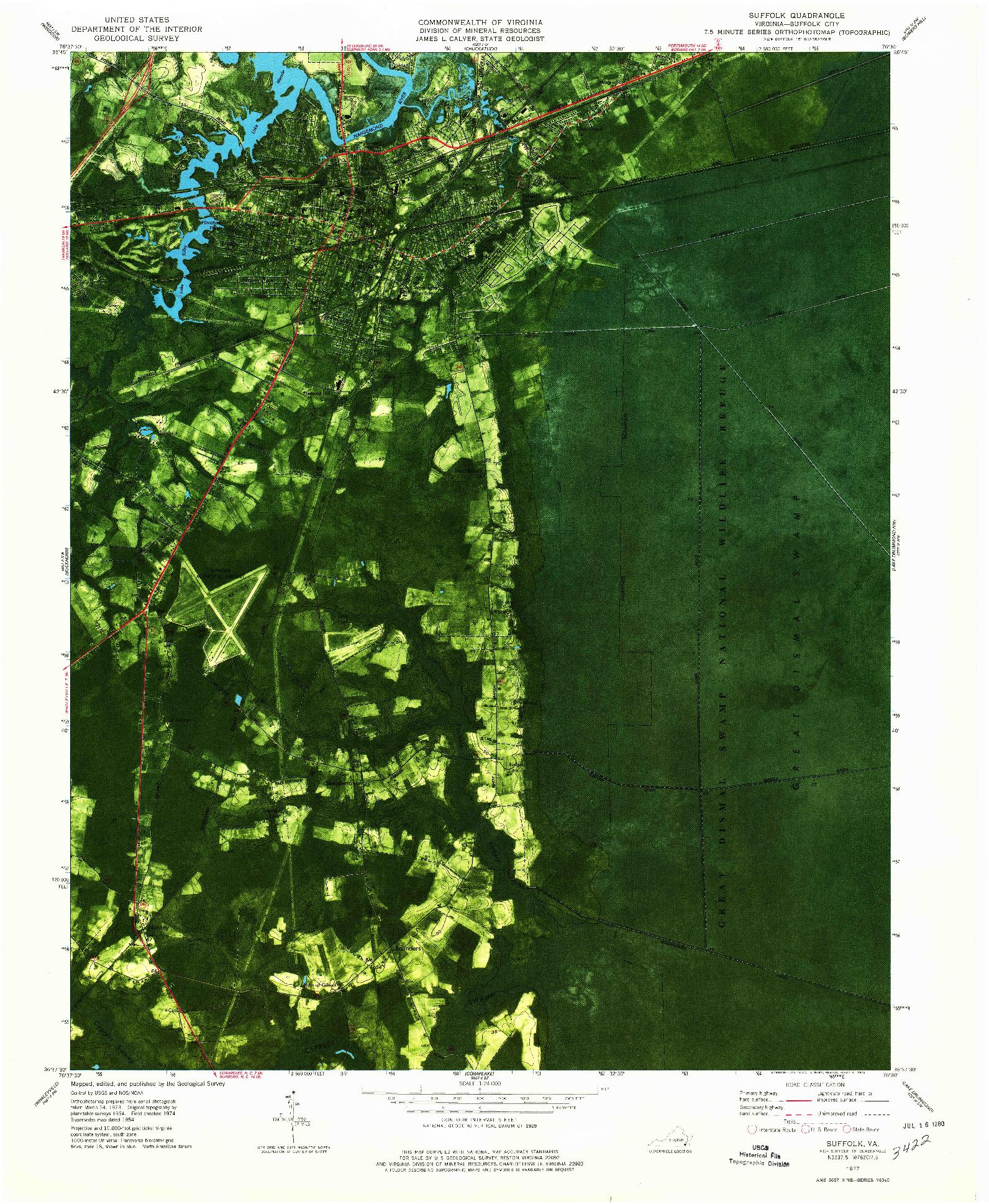 USGS 1:24000-SCALE QUADRANGLE FOR SUFFOLK, VA 1977