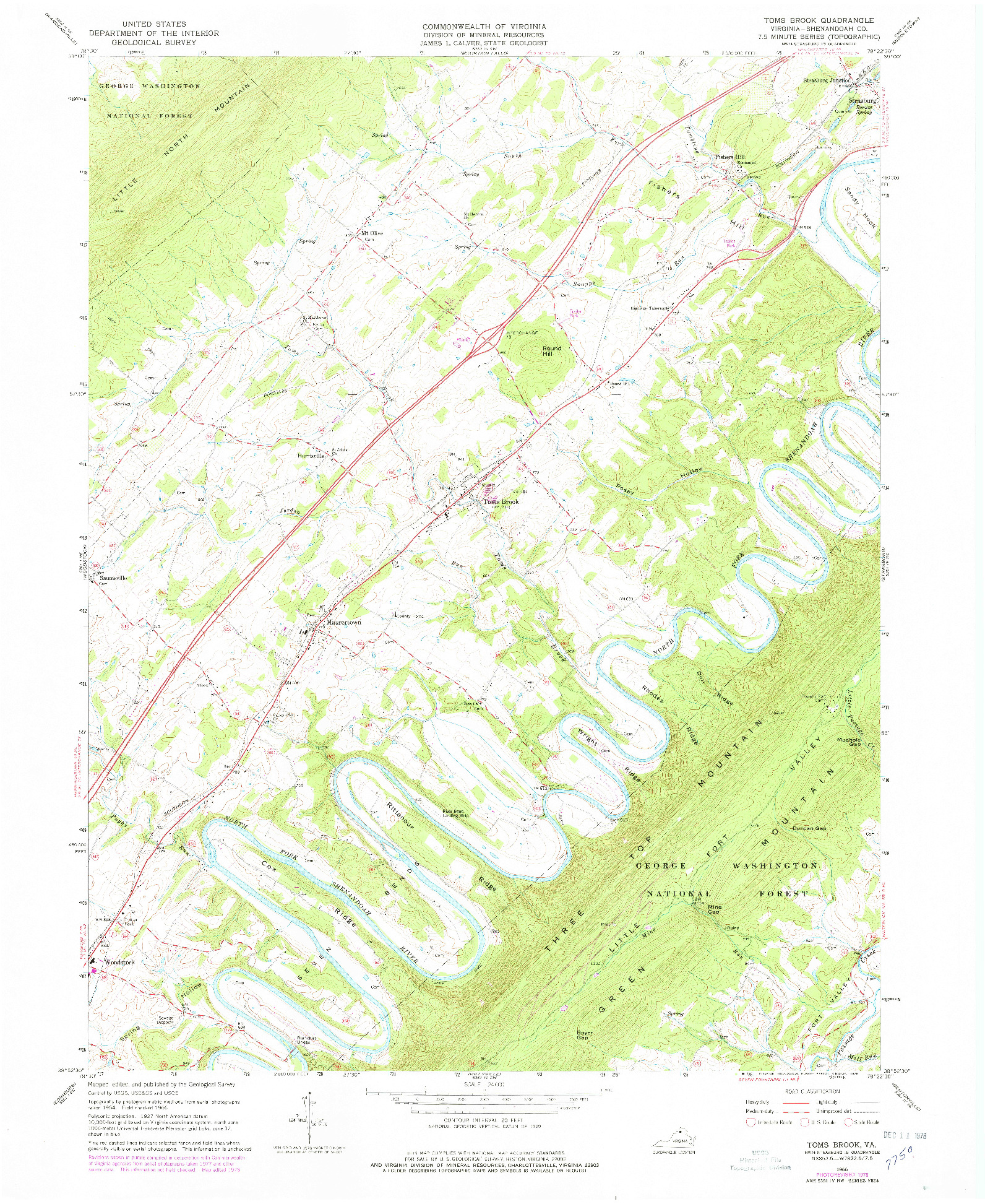 USGS 1:24000-SCALE QUADRANGLE FOR TOMS BROOK, VA 1966