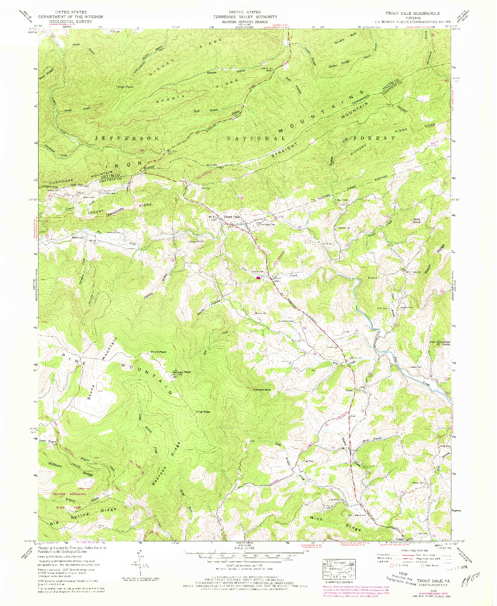 USGS 1:24000-SCALE QUADRANGLE FOR TROUT DALE, VA 1959