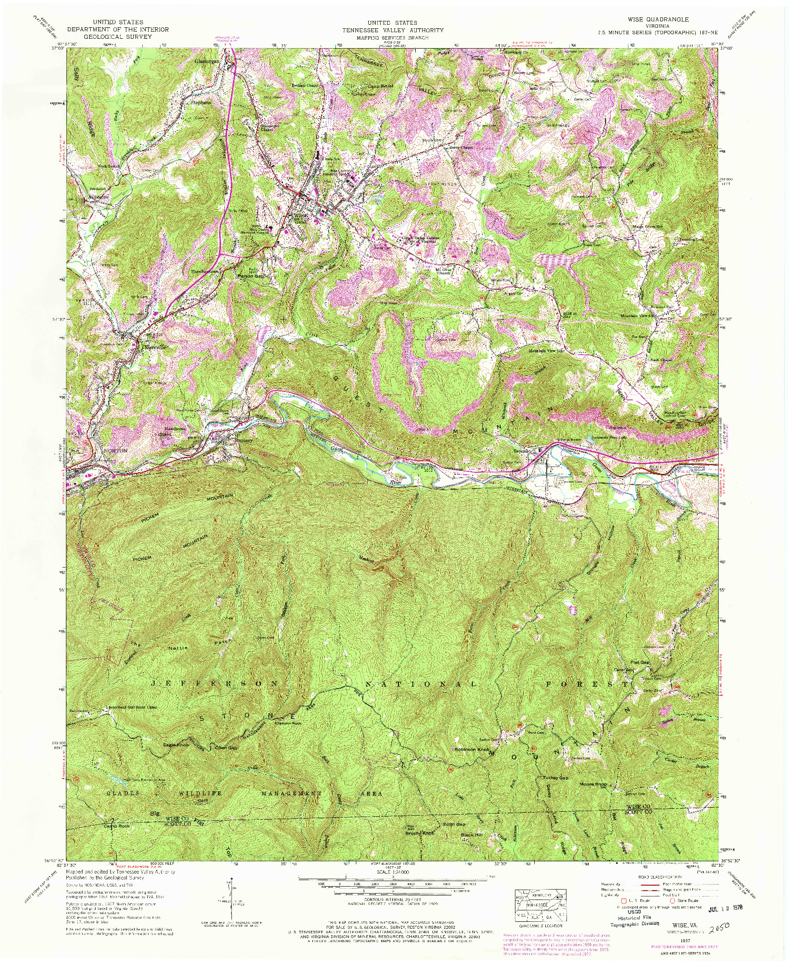 USGS 1:24000-SCALE QUADRANGLE FOR WISE, VA 1957