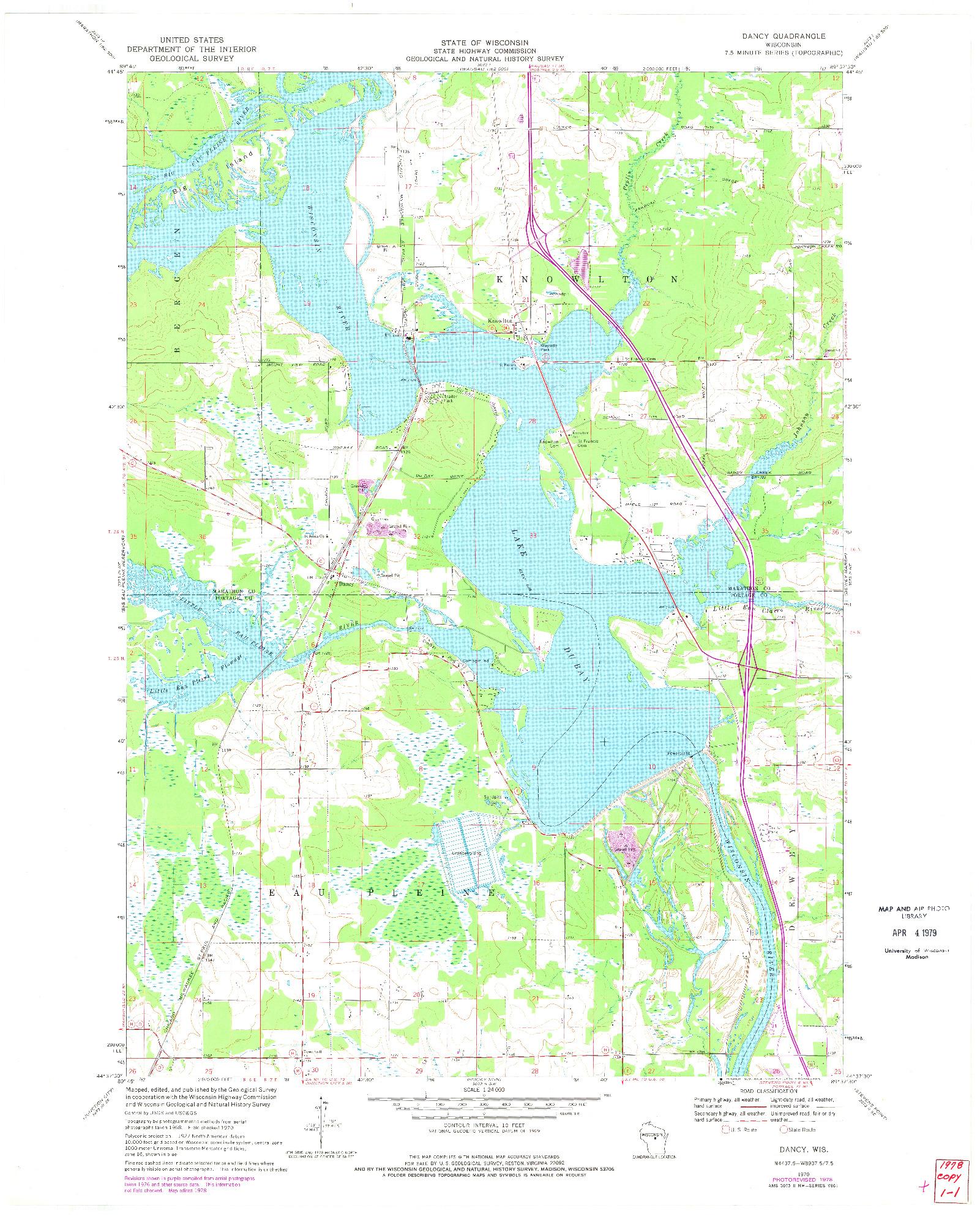 USGS 1:24000-SCALE QUADRANGLE FOR DANCY, WI 1970
