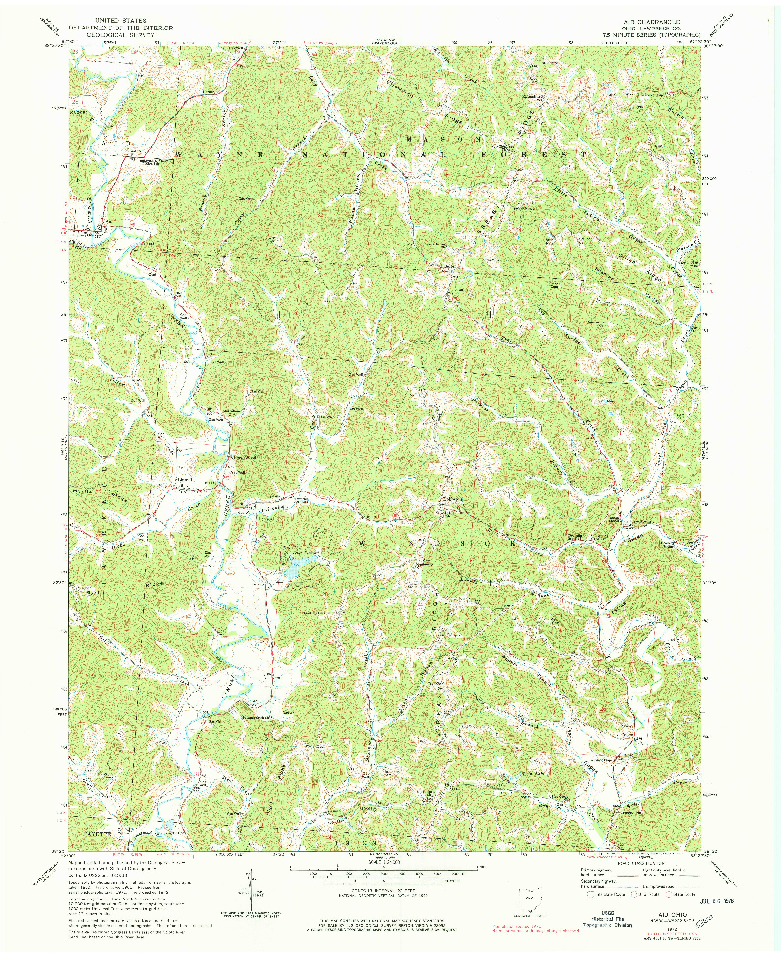 USGS 1:24000-SCALE QUADRANGLE FOR AID, OH 1972