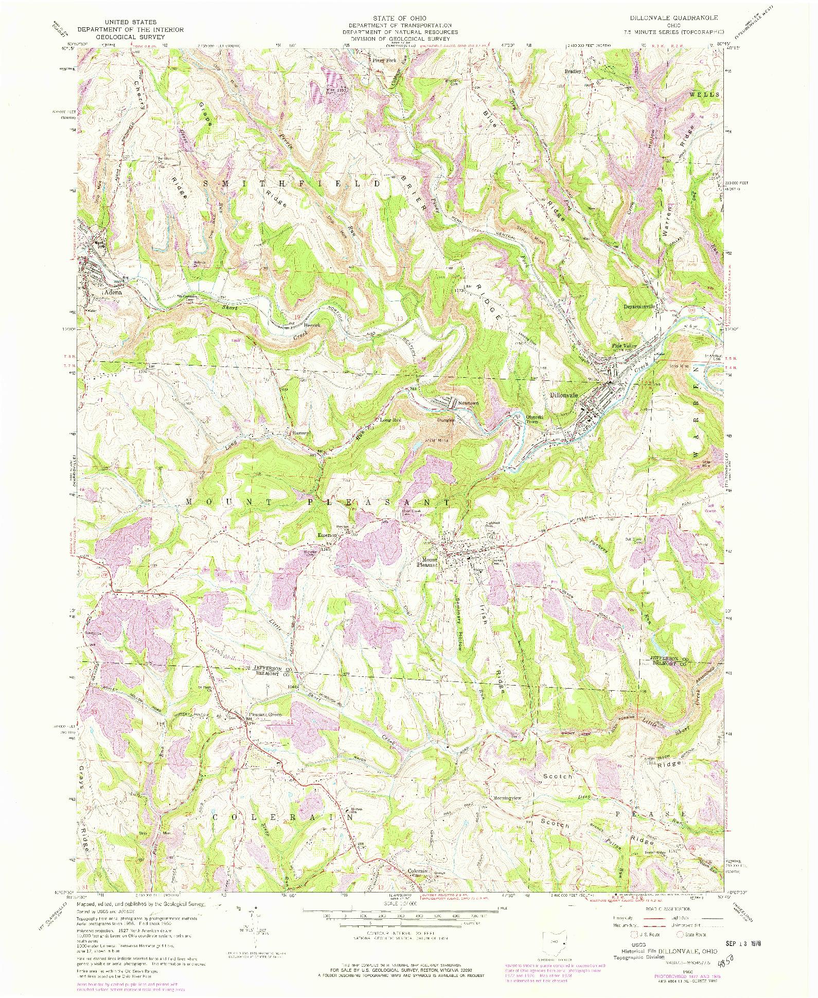 USGS 1:24000-SCALE QUADRANGLE FOR DILLONVALE, OH 1960