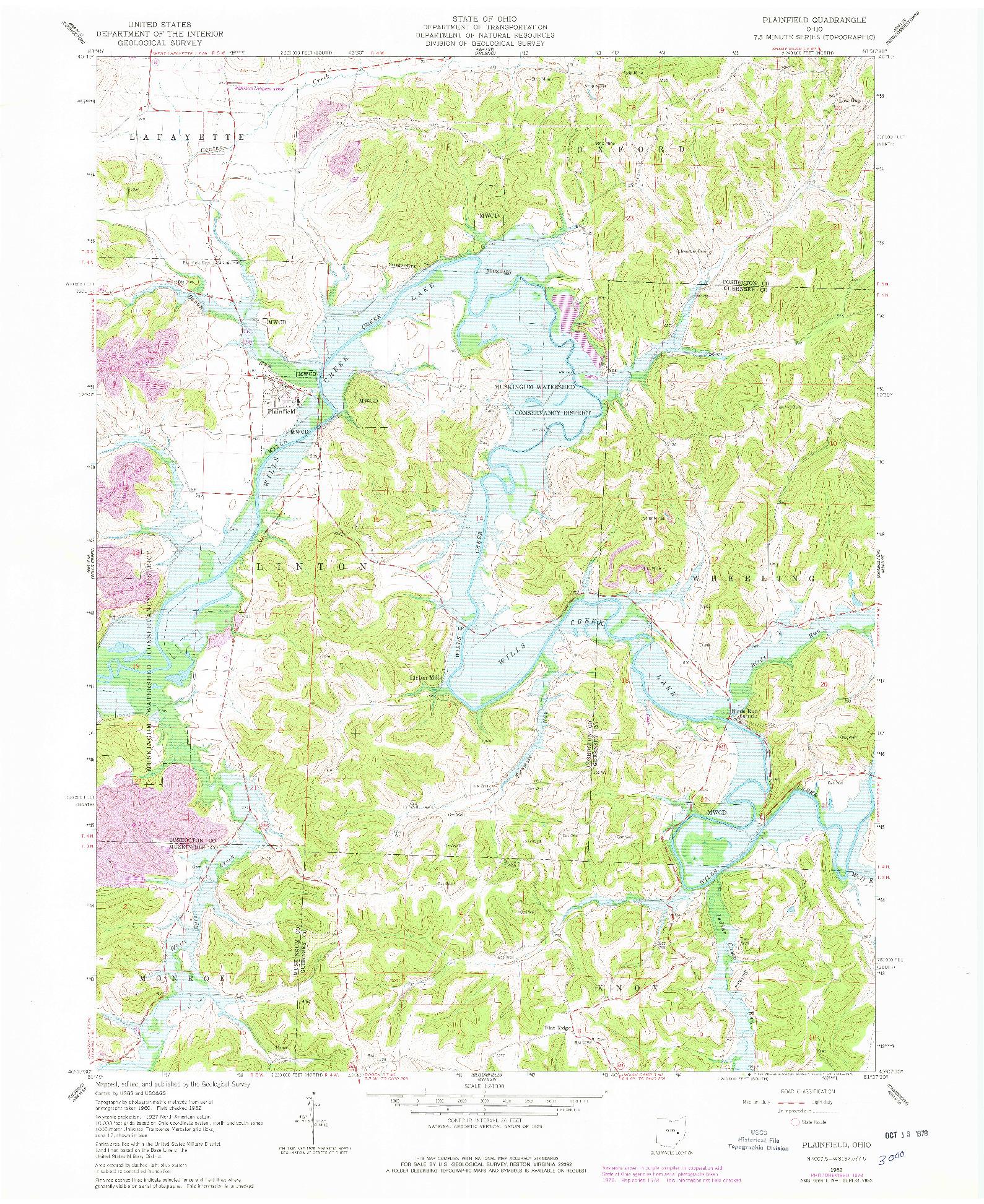 USGS 1:24000-SCALE QUADRANGLE FOR PLAINFIELD, OH 1962