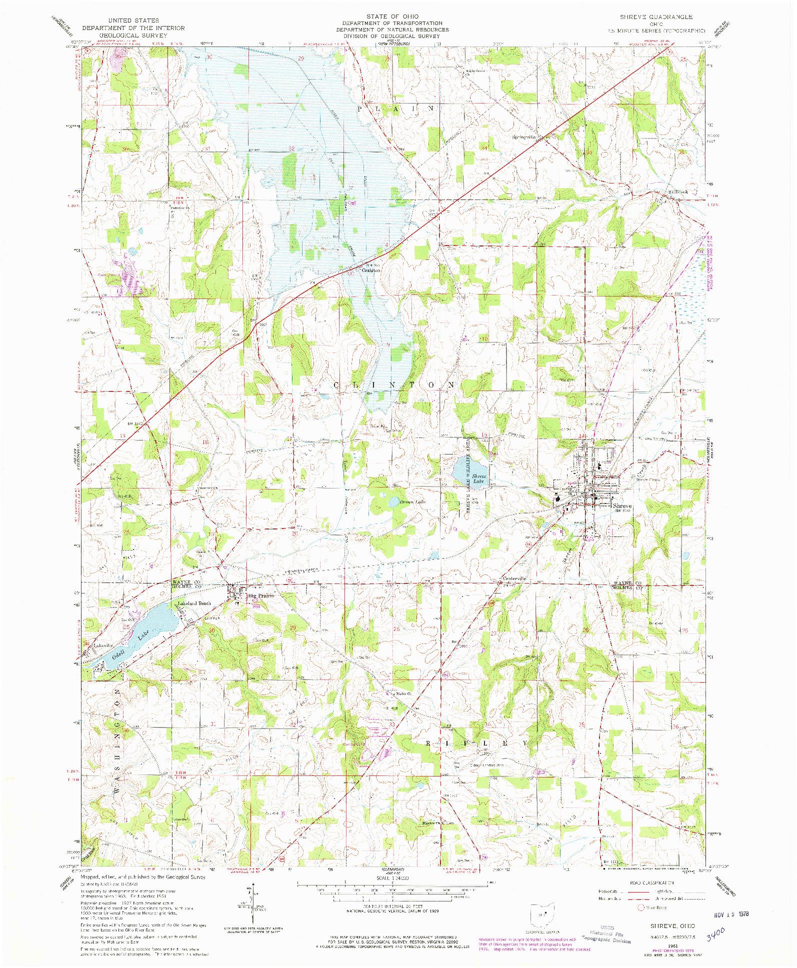 USGS 1:24000-SCALE QUADRANGLE FOR SHREVE, OH 1961
