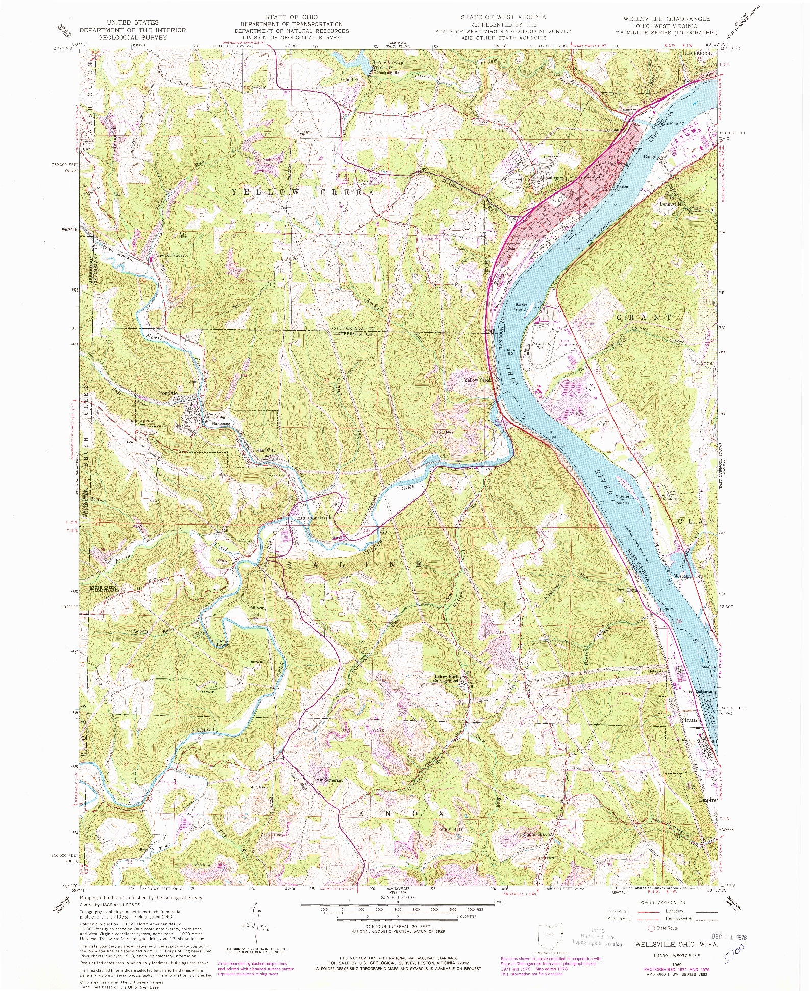 USGS 1:24000-SCALE QUADRANGLE FOR WELLSVILLE, OH 1960