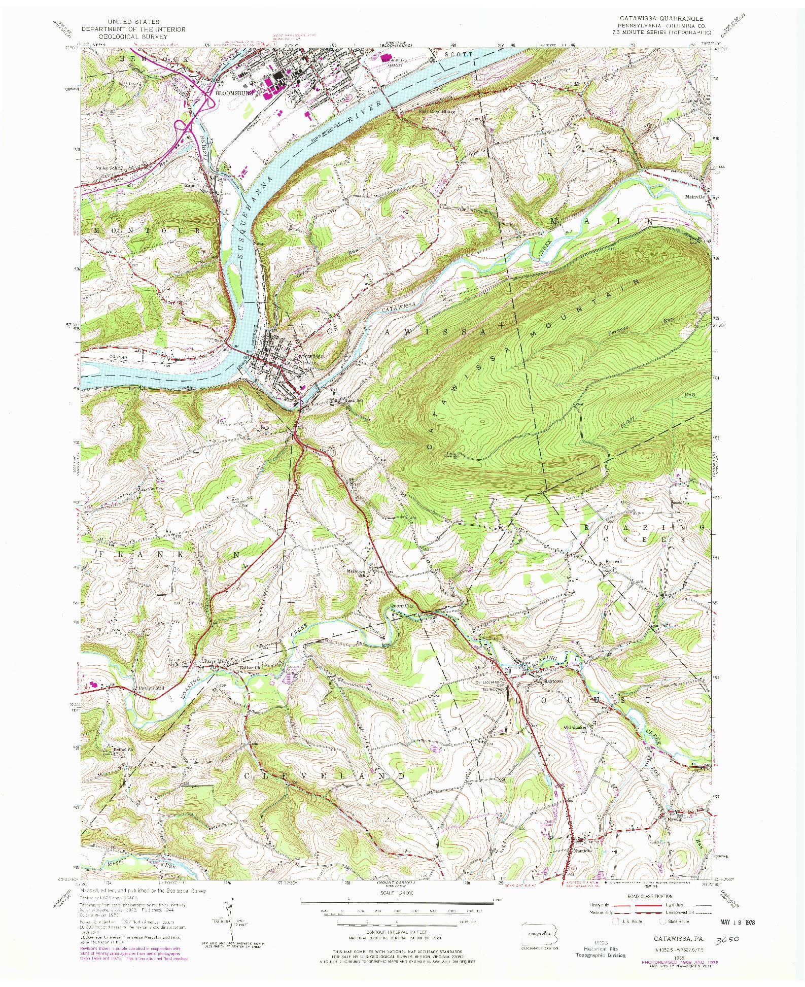 USGS 1:24000-SCALE QUADRANGLE FOR CATAWISSA, PA 1955