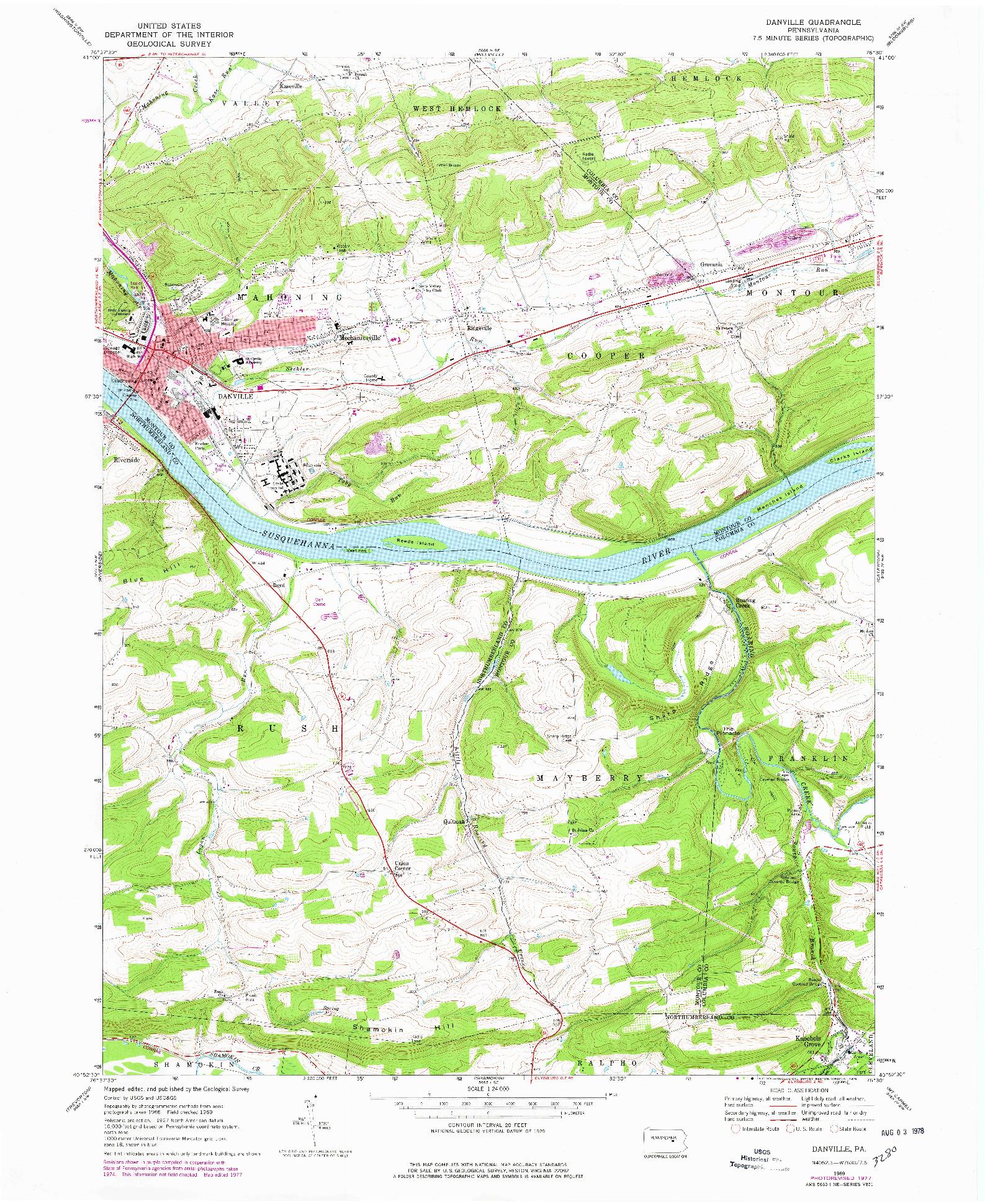 USGS 1:24000-SCALE QUADRANGLE FOR DANVILLE, PA 1969