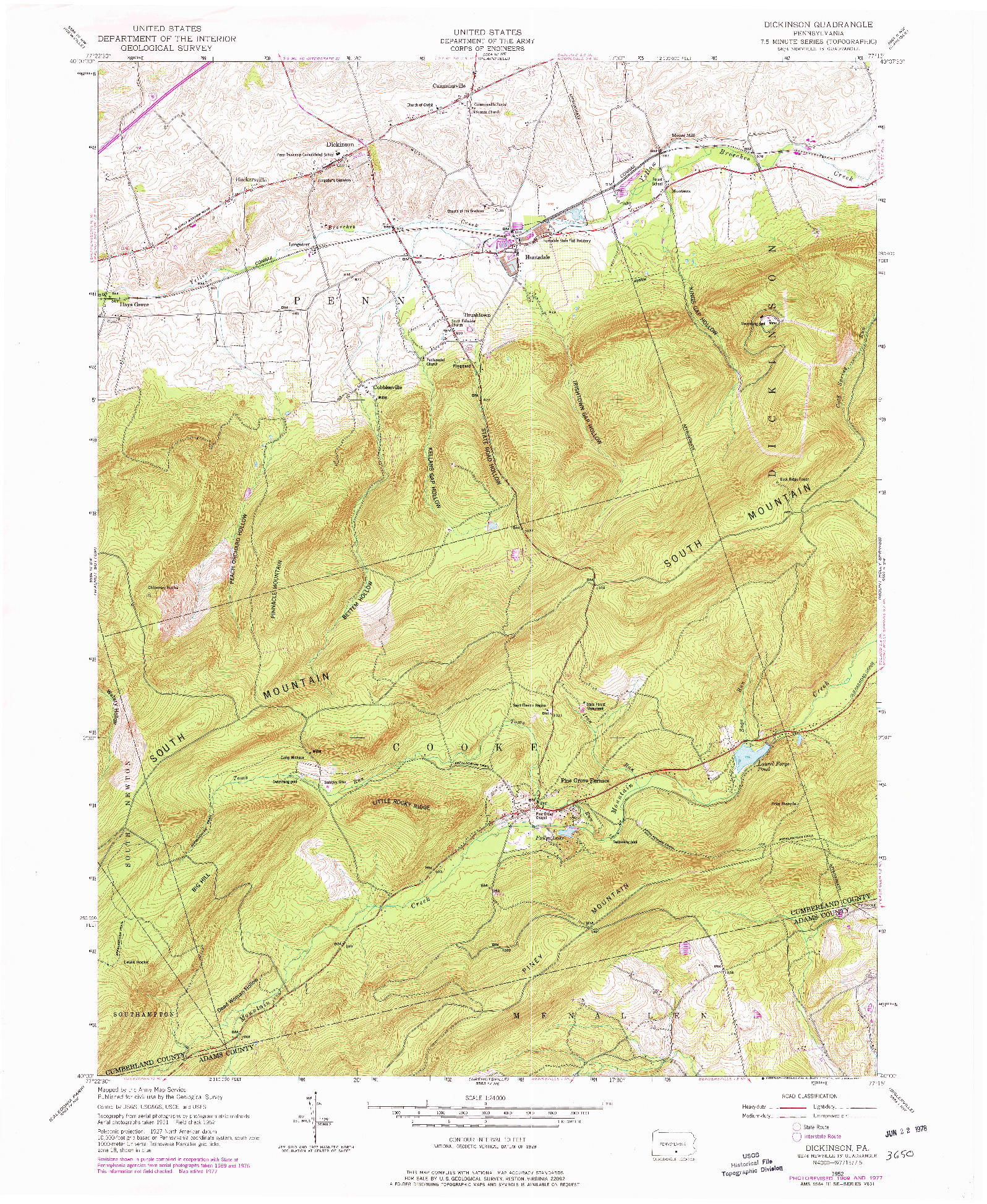 USGS 1:24000-SCALE QUADRANGLE FOR DICKINSON, PA 1952