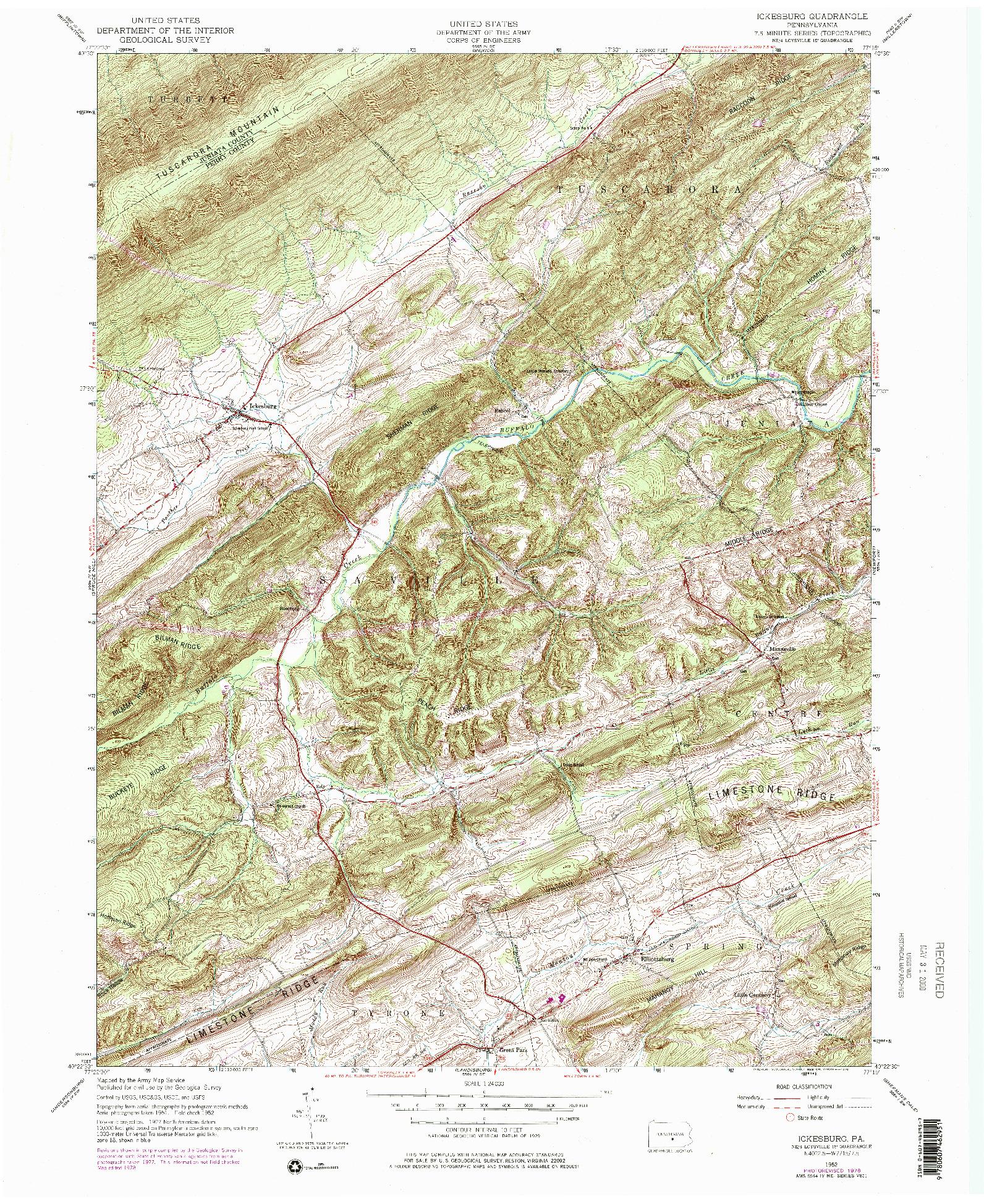 USGS 1:24000-SCALE QUADRANGLE FOR ICKESBURG, PA 1952