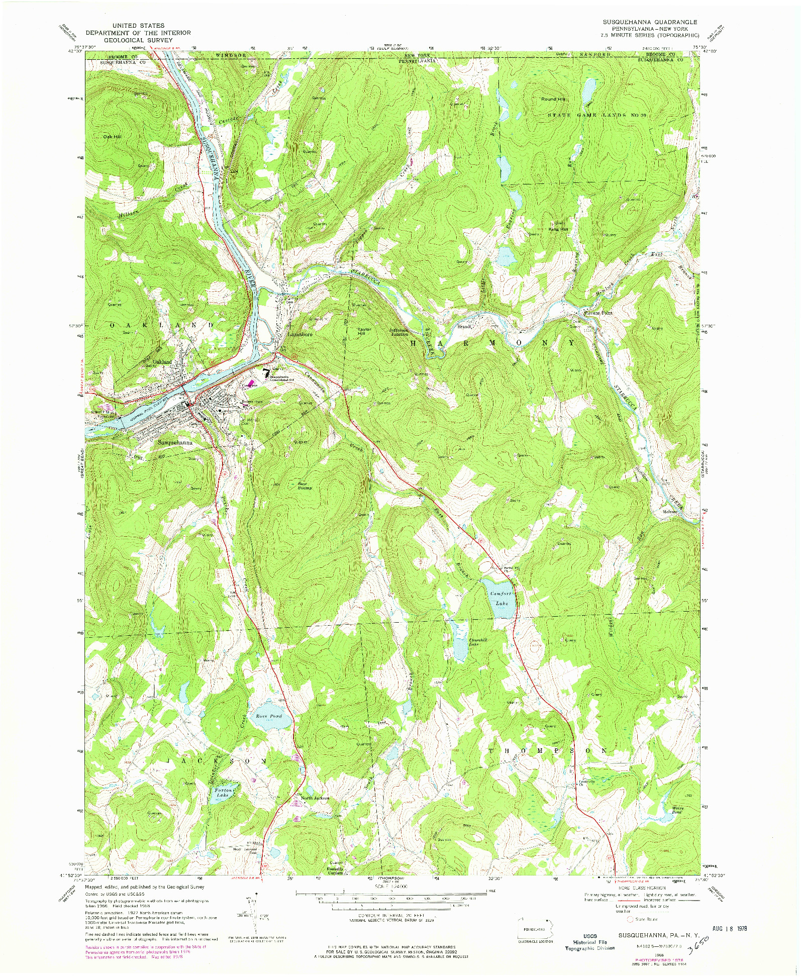 USGS 1:24000-SCALE QUADRANGLE FOR SUSQUEHANNA, PA 1968