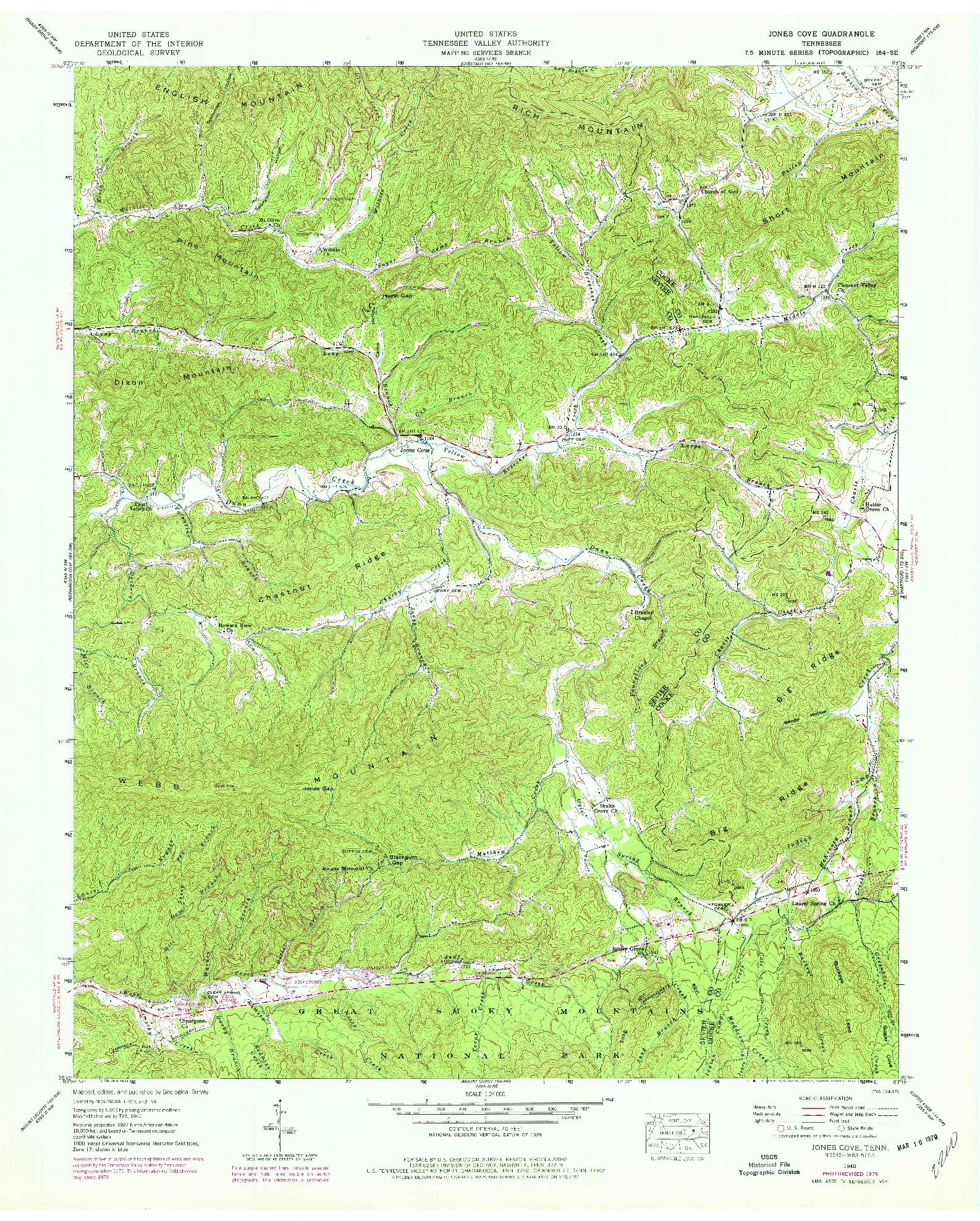 USGS 1:24000-SCALE QUADRANGLE FOR JONES COVE, TN 1940