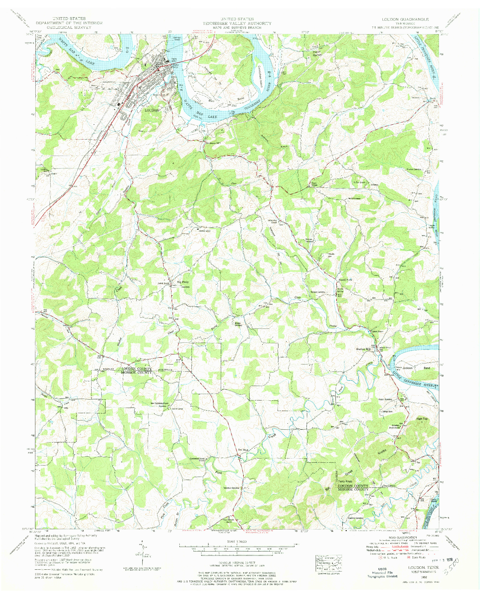 USGS 1:24000-SCALE QUADRANGLE FOR LOUDON, TN 1952