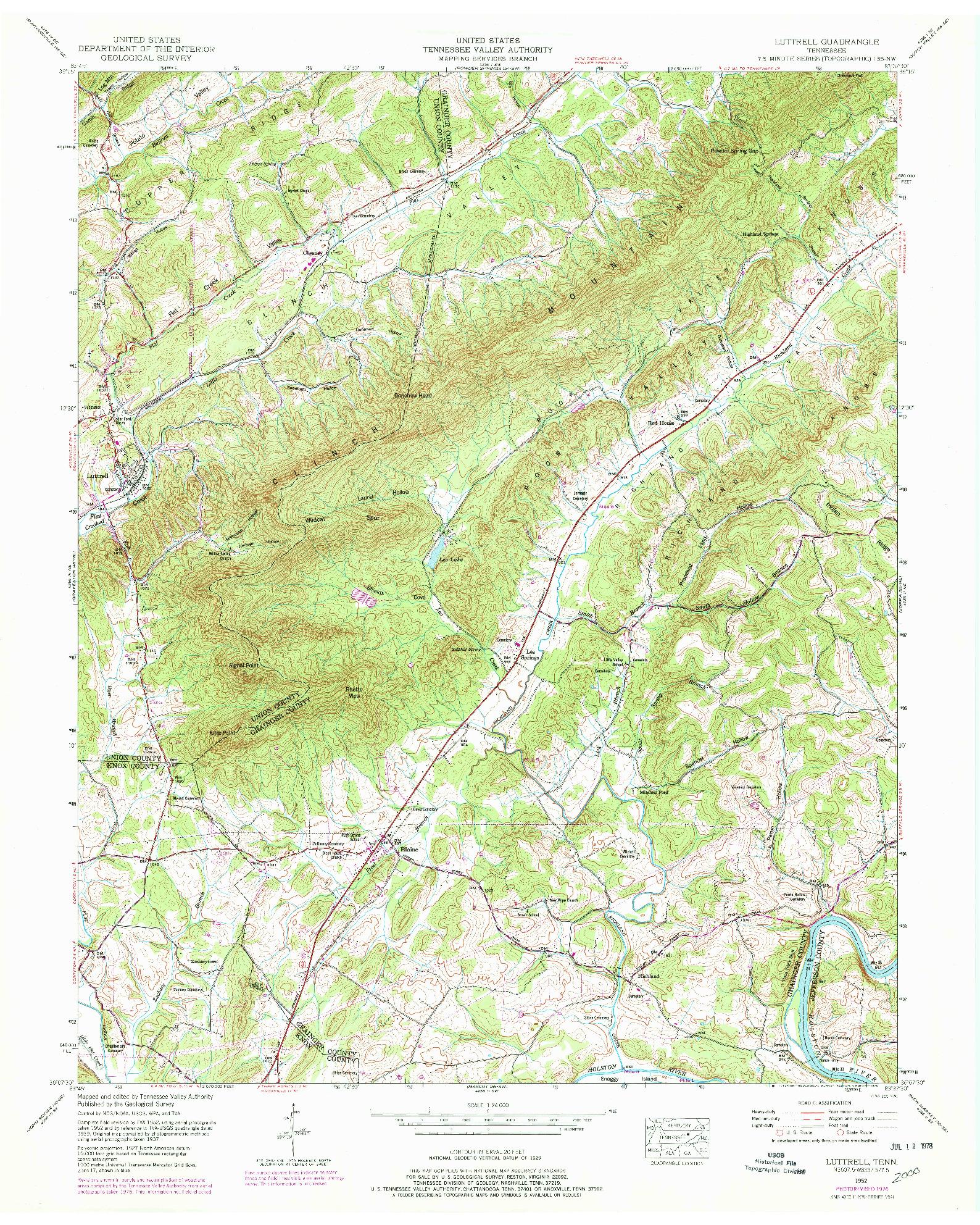 USGS 1:24000-SCALE QUADRANGLE FOR LUTTRELL, TN 1952