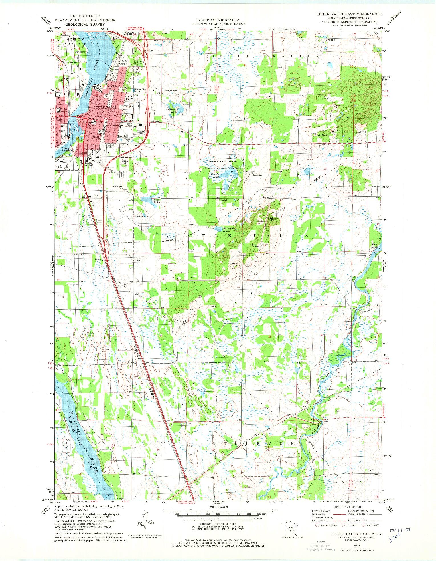 USGS 1:24000-SCALE QUADRANGLE FOR LITTLE FALLS EAST, MN 1978