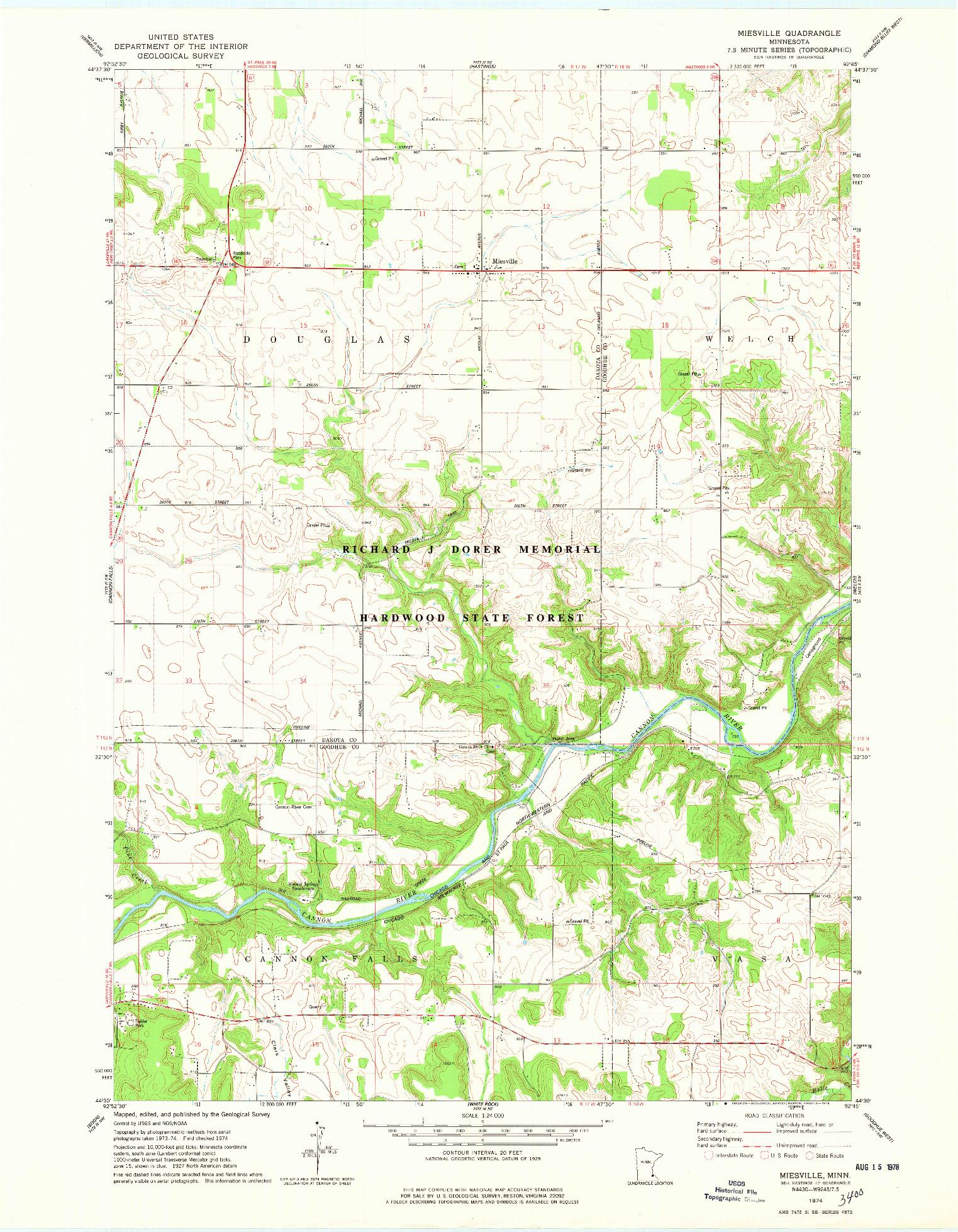 USGS 1:24000-SCALE QUADRANGLE FOR MIESVILLE, MN 1974