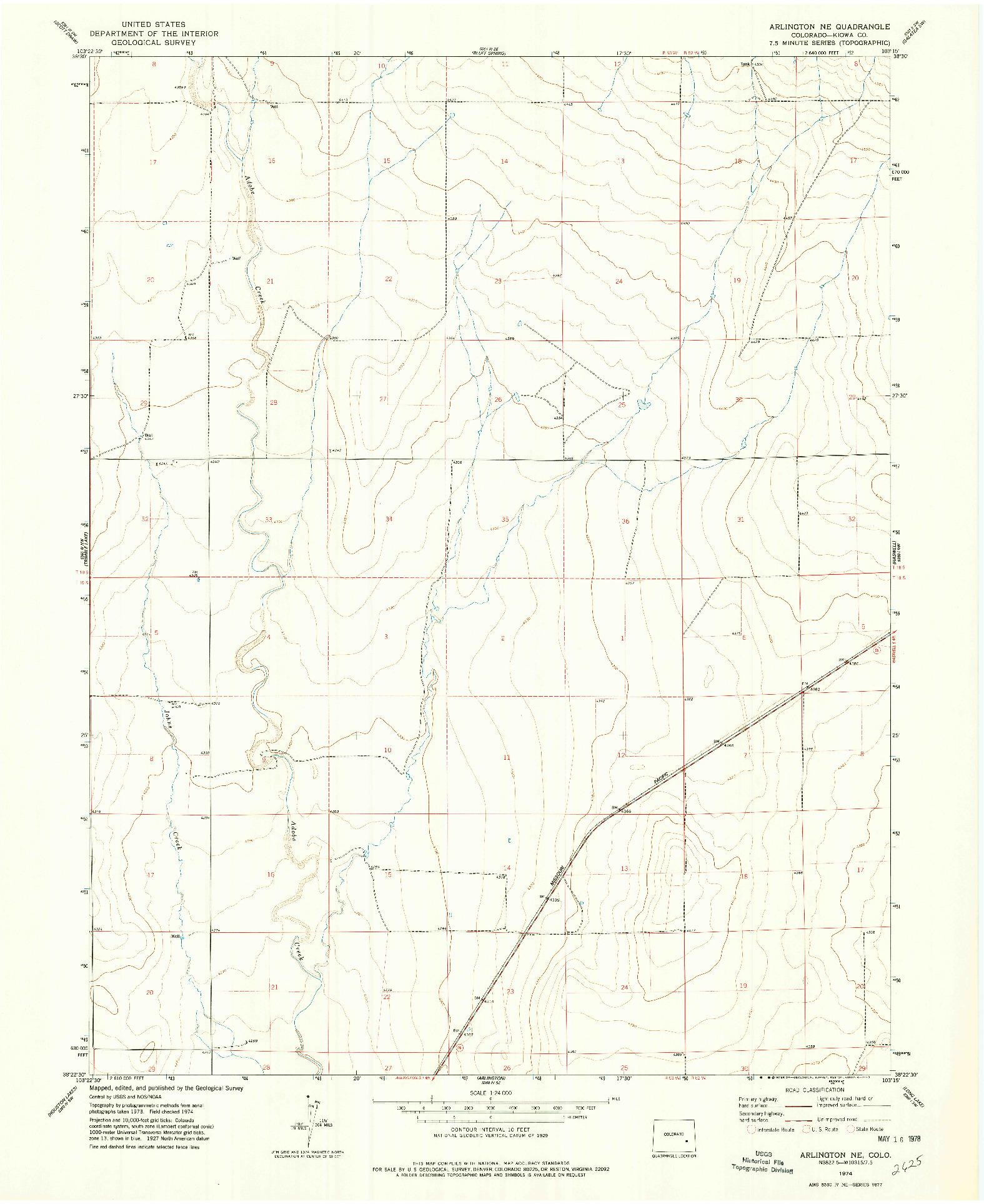 USGS 1:24000-SCALE QUADRANGLE FOR ARLINGTON NE, CO 1974