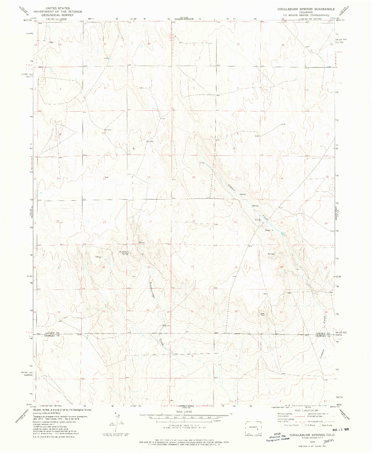USGS 1:24000-SCALE QUADRANGLE FOR COCKLEBURR SPRINGS, CO 1978
