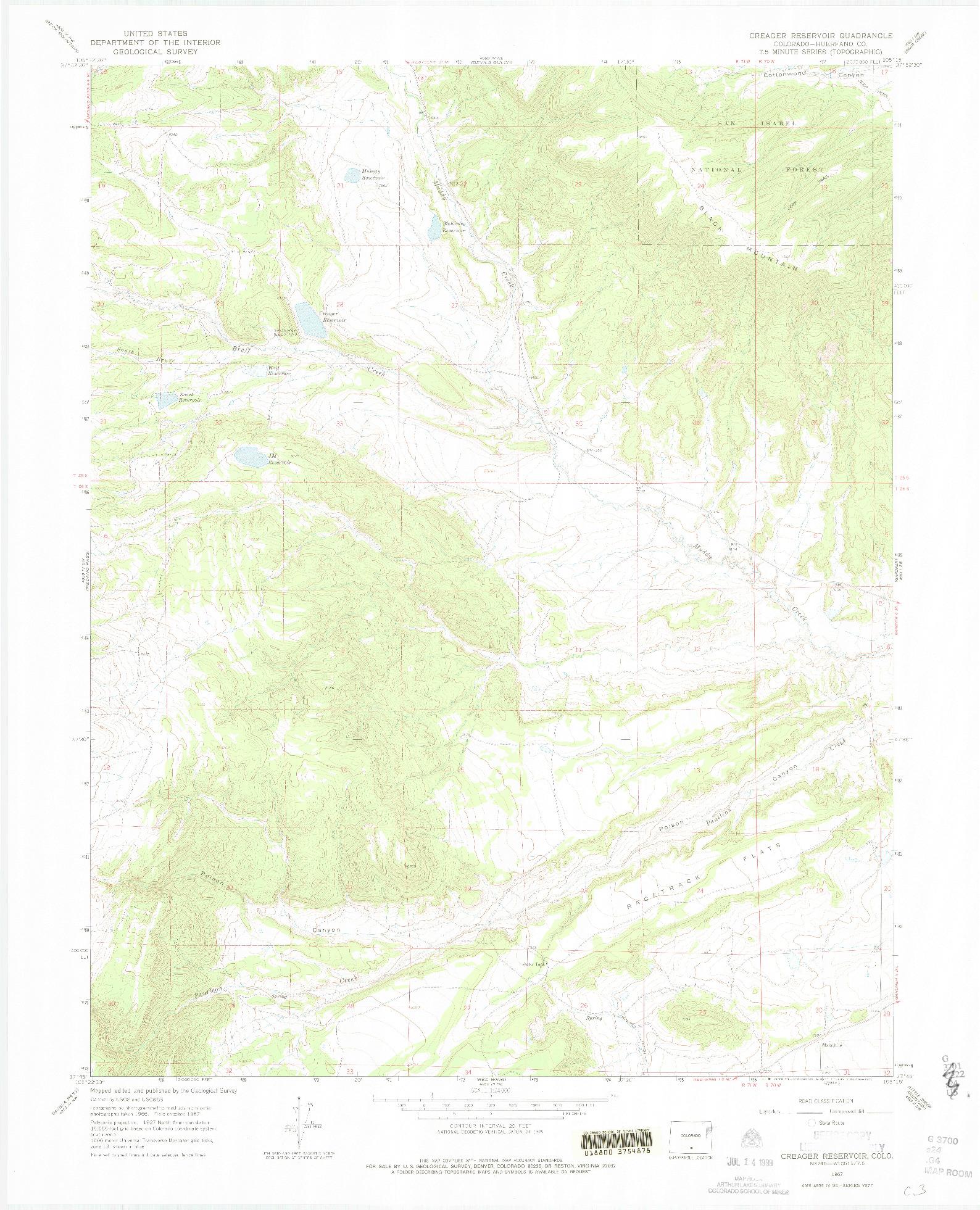 USGS 1:24000-SCALE QUADRANGLE FOR CREAGER RESERVOIR, CO 1967