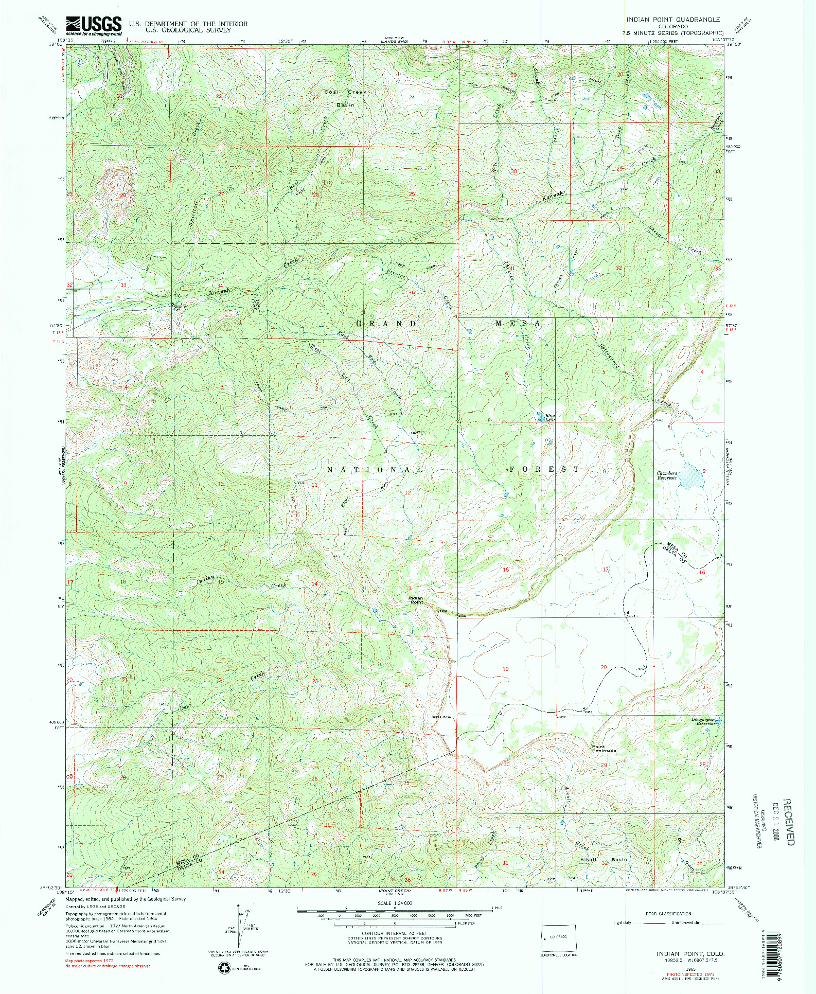 USGS 1:24000-SCALE QUADRANGLE FOR INDIAN POINT, CO 1965