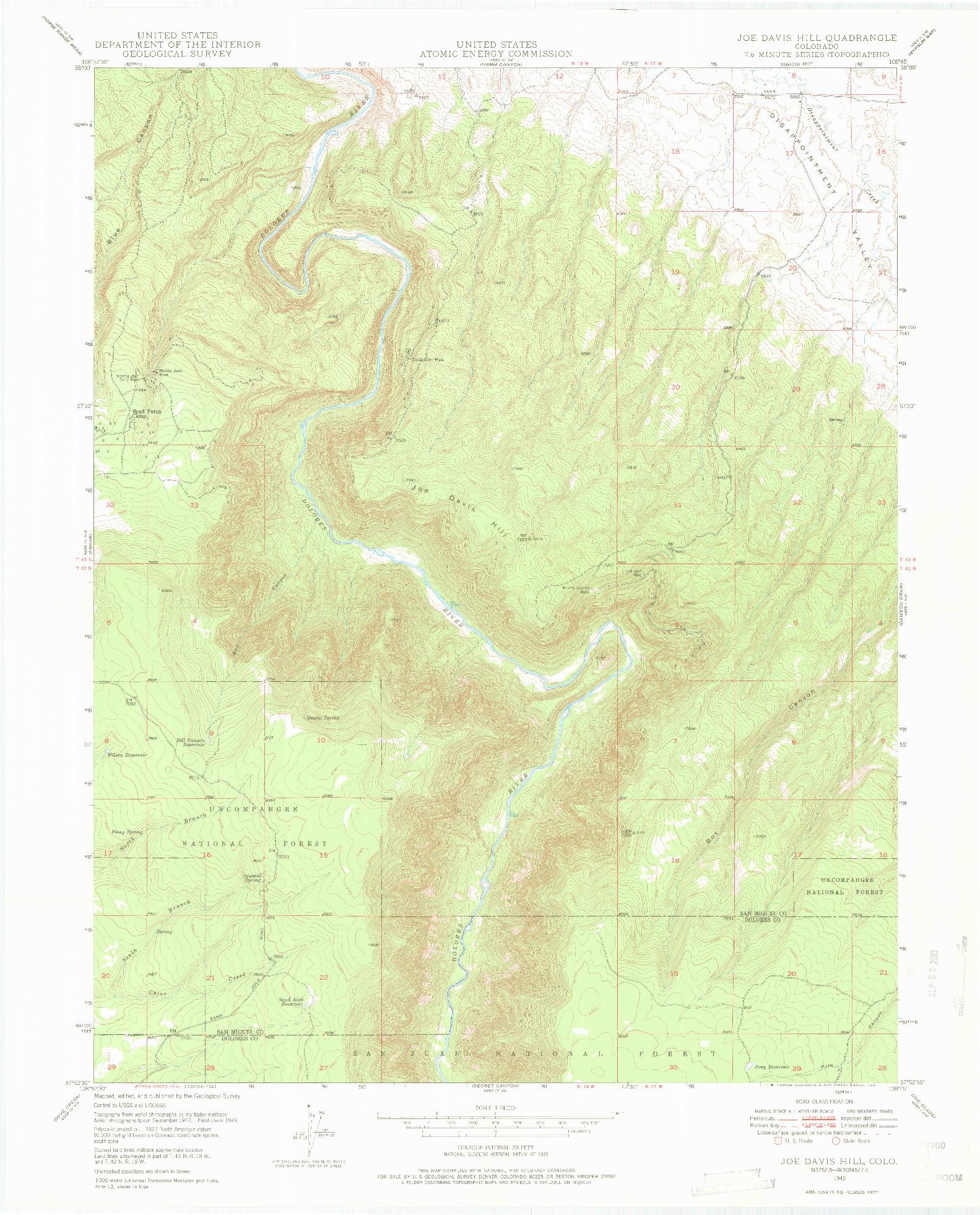 USGS 1:24000-SCALE QUADRANGLE FOR JOE DAVIS HILL, CO 1949
