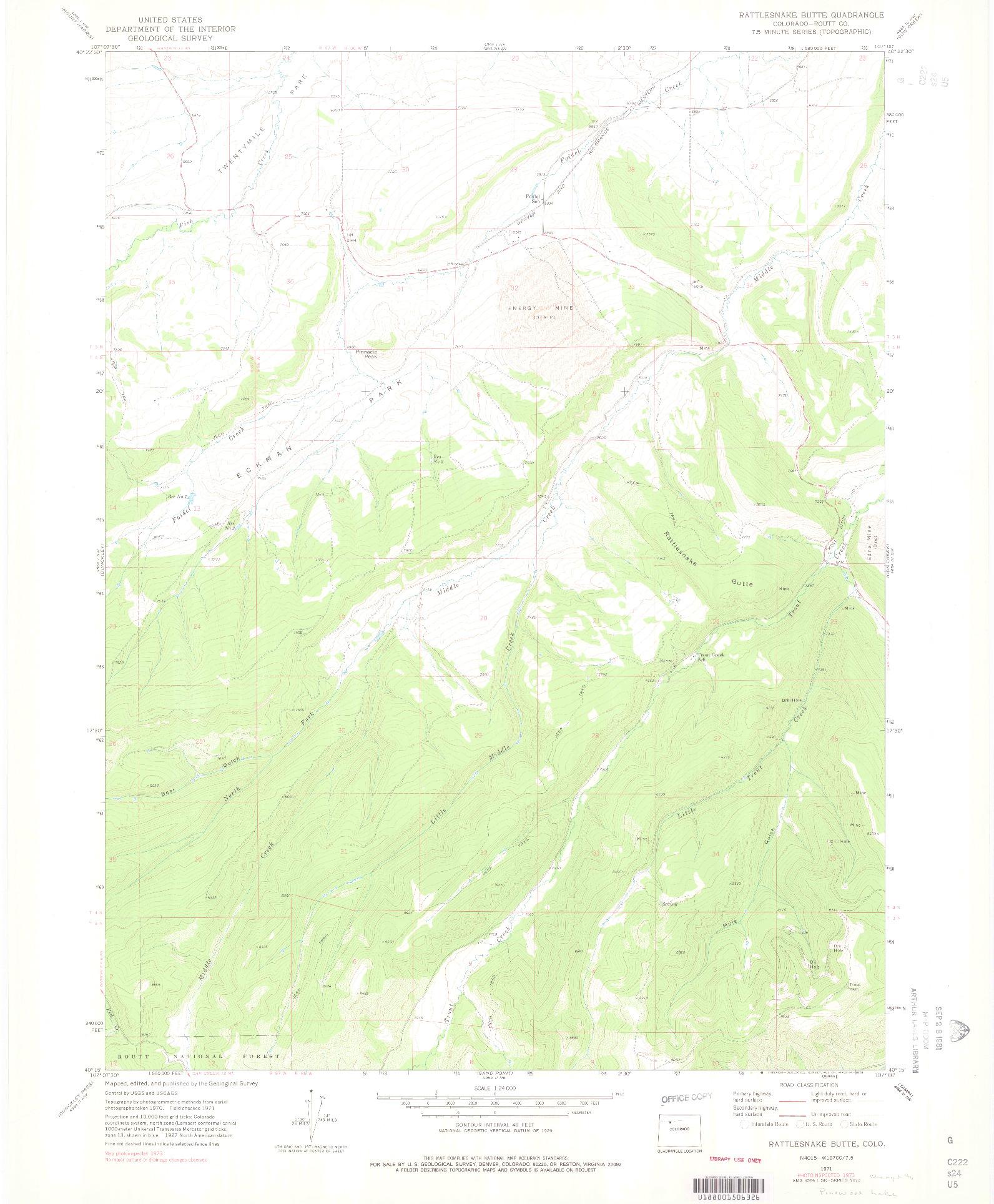 USGS 1:24000-SCALE QUADRANGLE FOR RATTLESNAKE BUTTE, CO 1971