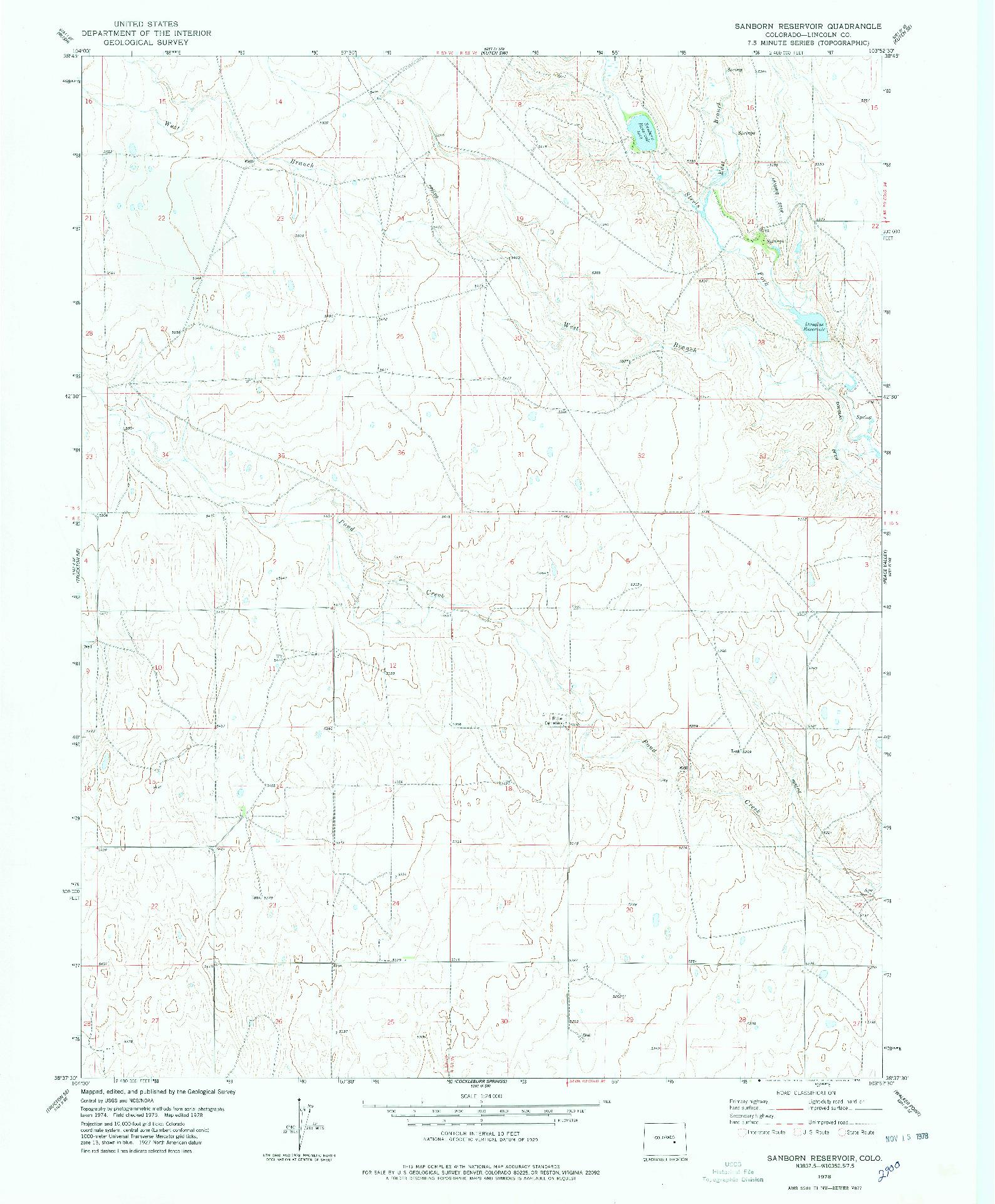 USGS 1:24000-SCALE QUADRANGLE FOR SANBORN RESERVOIR, CO 1978