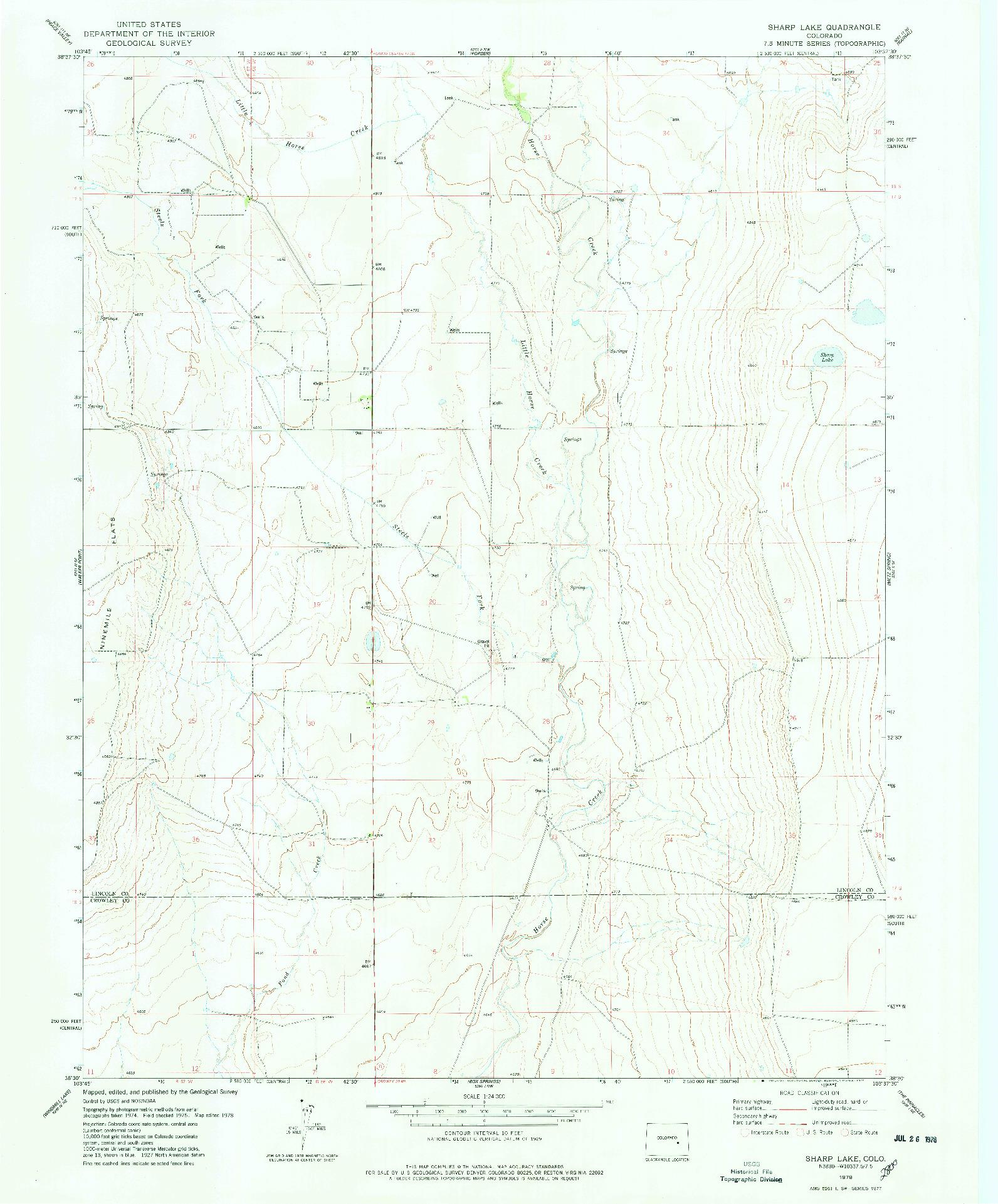 USGS 1:24000-SCALE QUADRANGLE FOR SHARP LAKE, CO 1978