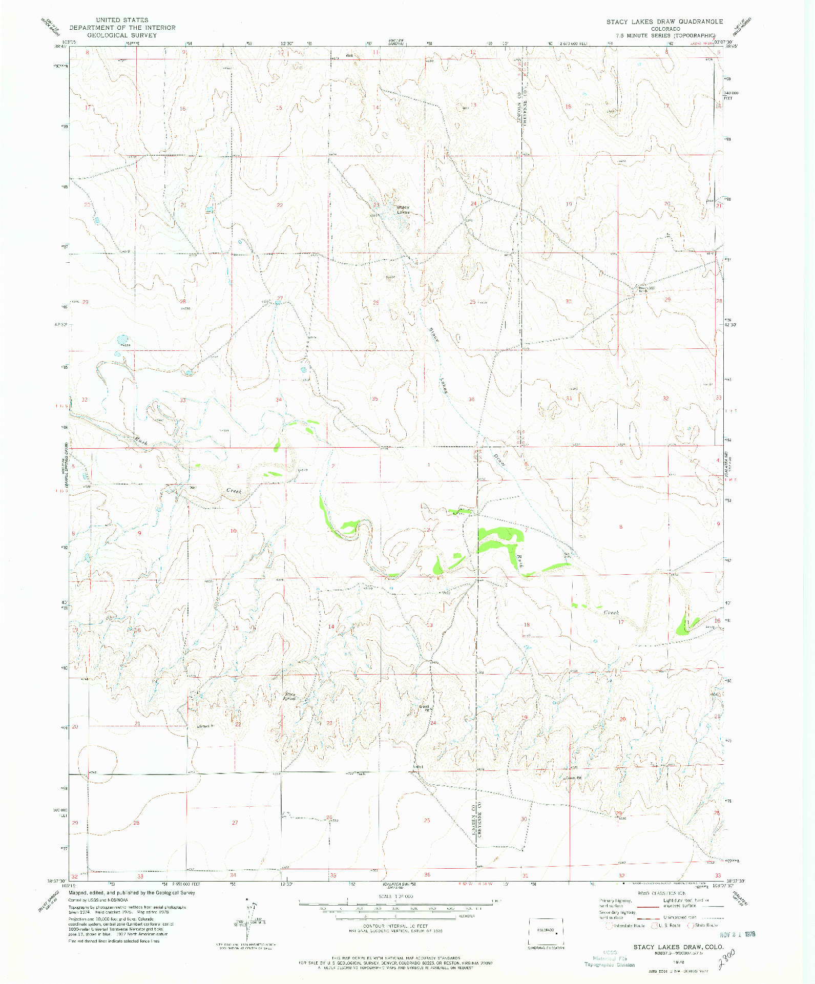 USGS 1:24000-SCALE QUADRANGLE FOR STACY LAKES DRAW, CO 1978