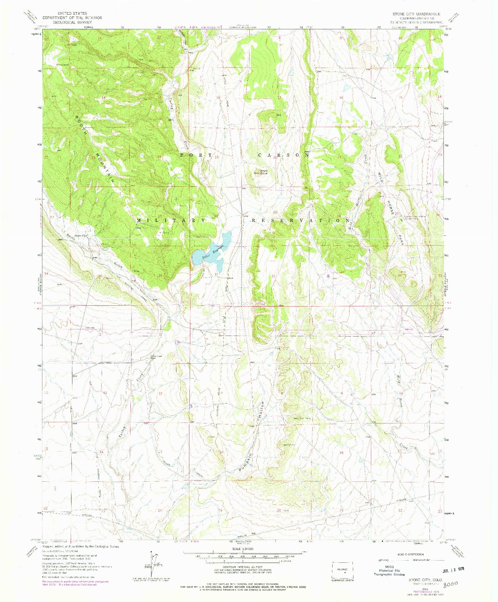 USGS 1:24000-SCALE QUADRANGLE FOR STONE CITY, CO 1963