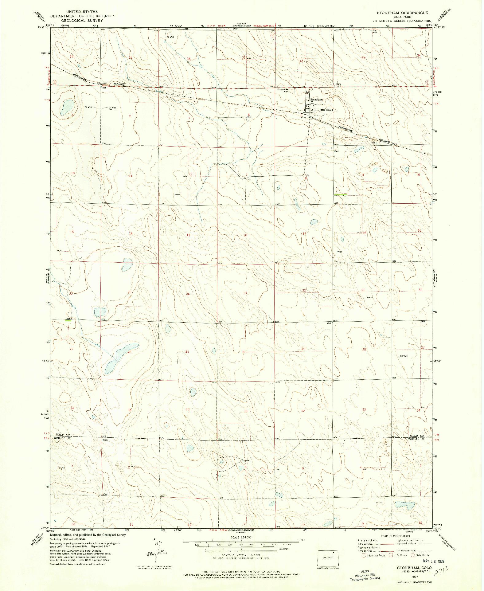 USGS 1:24000-SCALE QUADRANGLE FOR STONEHAM, CO 1977