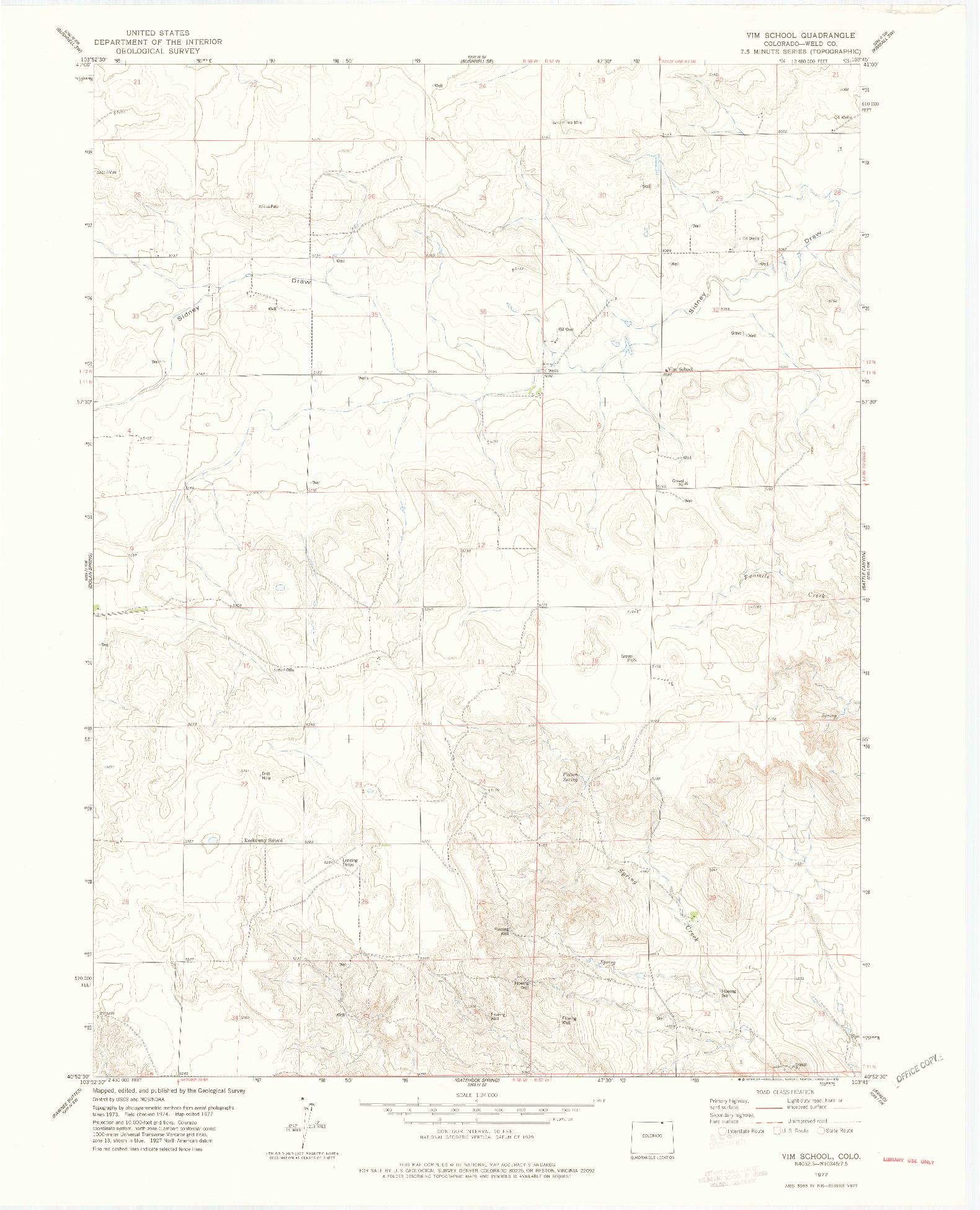 USGS 1:24000-SCALE QUADRANGLE FOR VIM SCHOOL, CO 1977