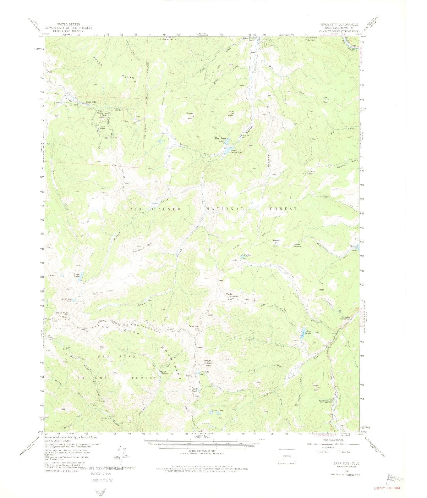 USGS 1:62500-SCALE QUADRANGLE FOR SPAR CITY, CO 1957