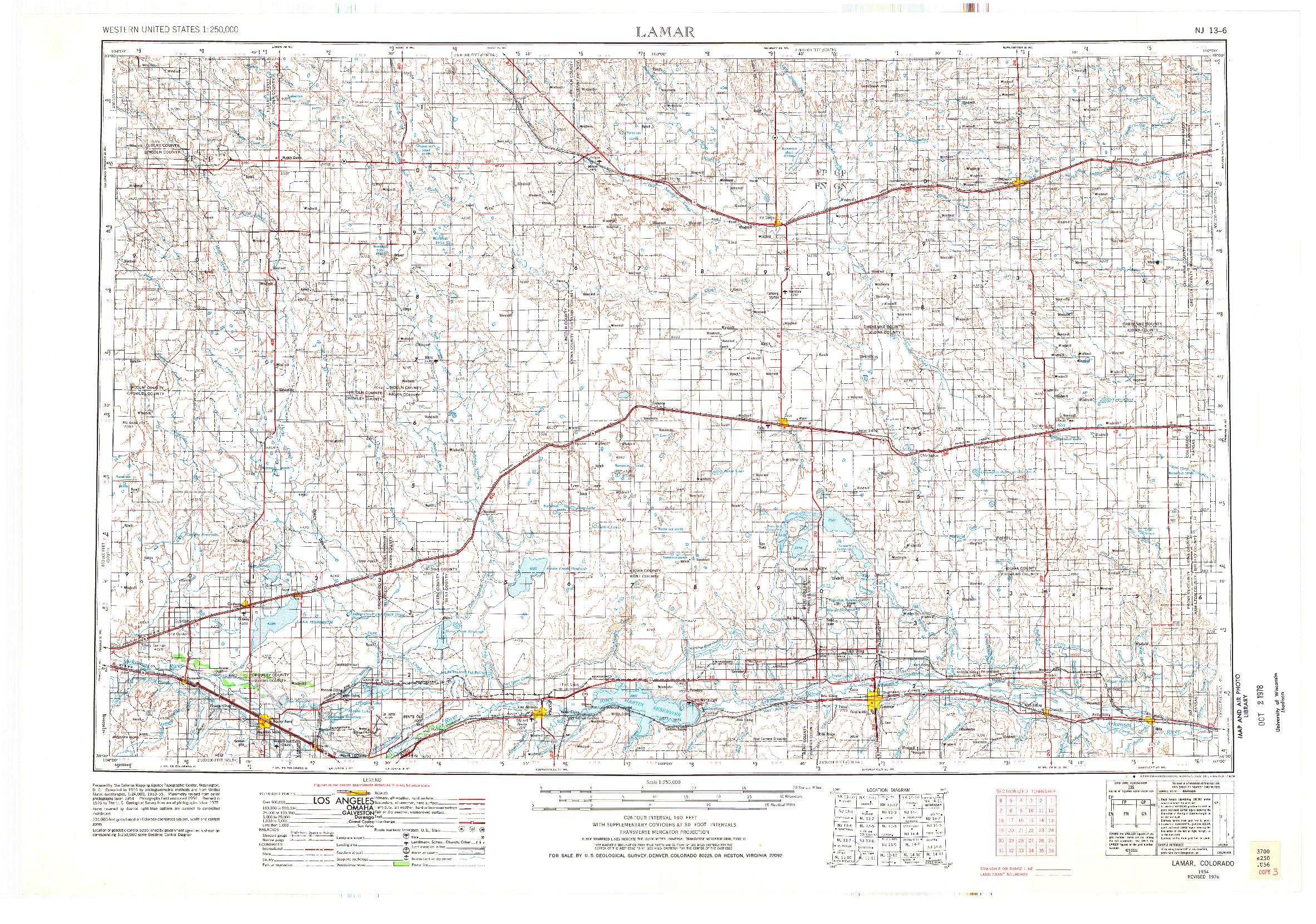USGS 1:250000-SCALE QUADRANGLE FOR LAMAR, CO 1954