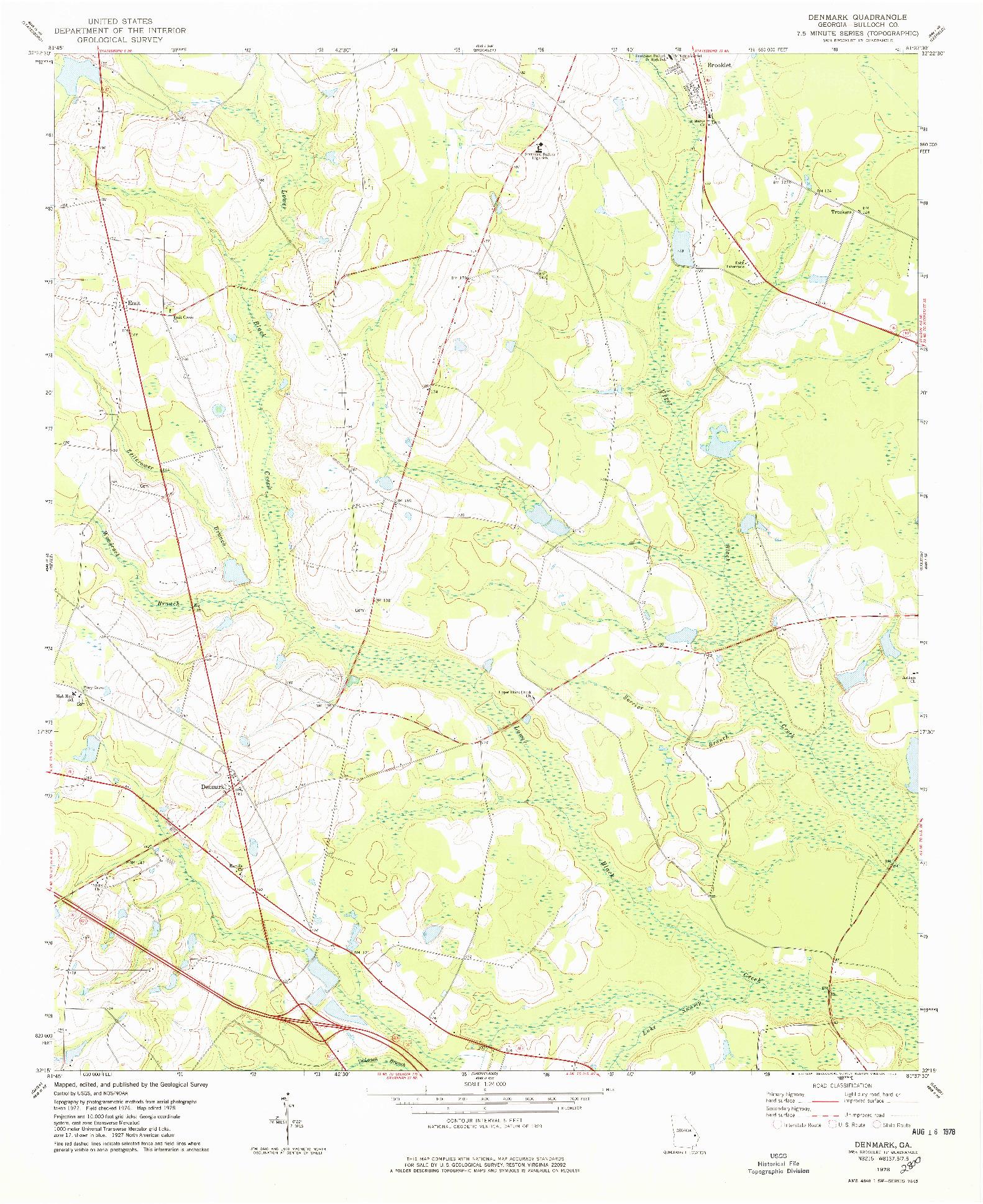 USGS 1:24000-SCALE QUADRANGLE FOR DENMARK, GA 1978