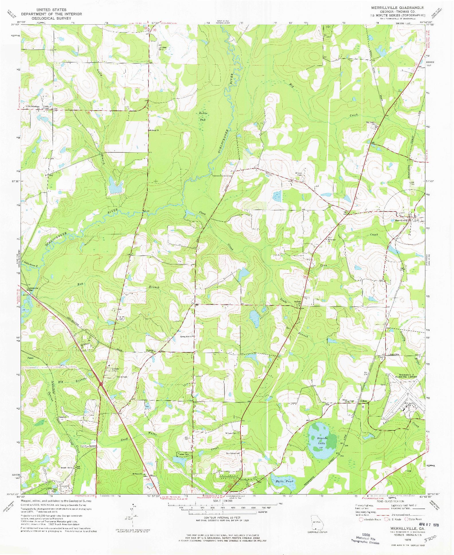 USGS 1:24000-SCALE QUADRANGLE FOR MERRILLVILLE, GA 1978