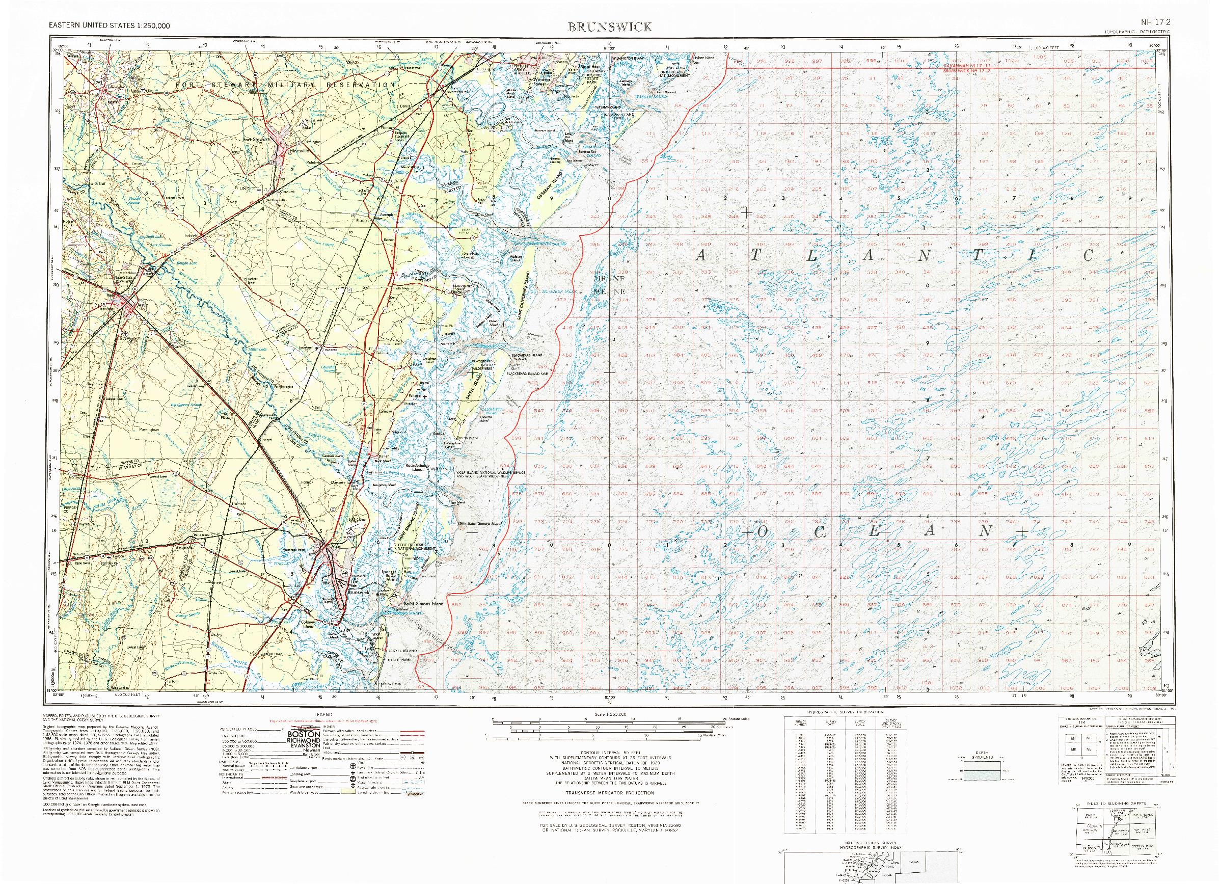 USGS 1:250000-SCALE QUADRANGLE FOR BRUNSWICK, GA 1978