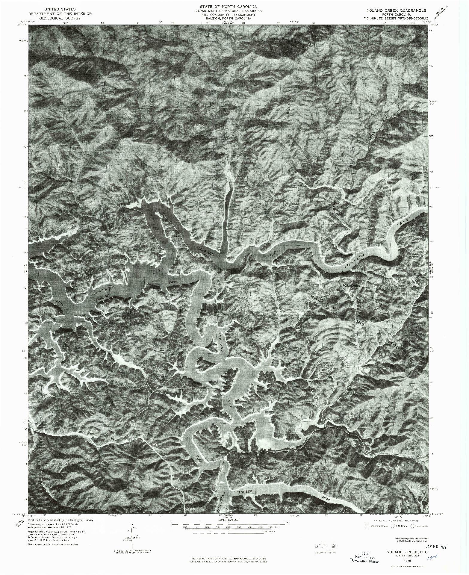 USGS 1:24000-SCALE QUADRANGLE FOR NOLAND CREEK, NC 1976