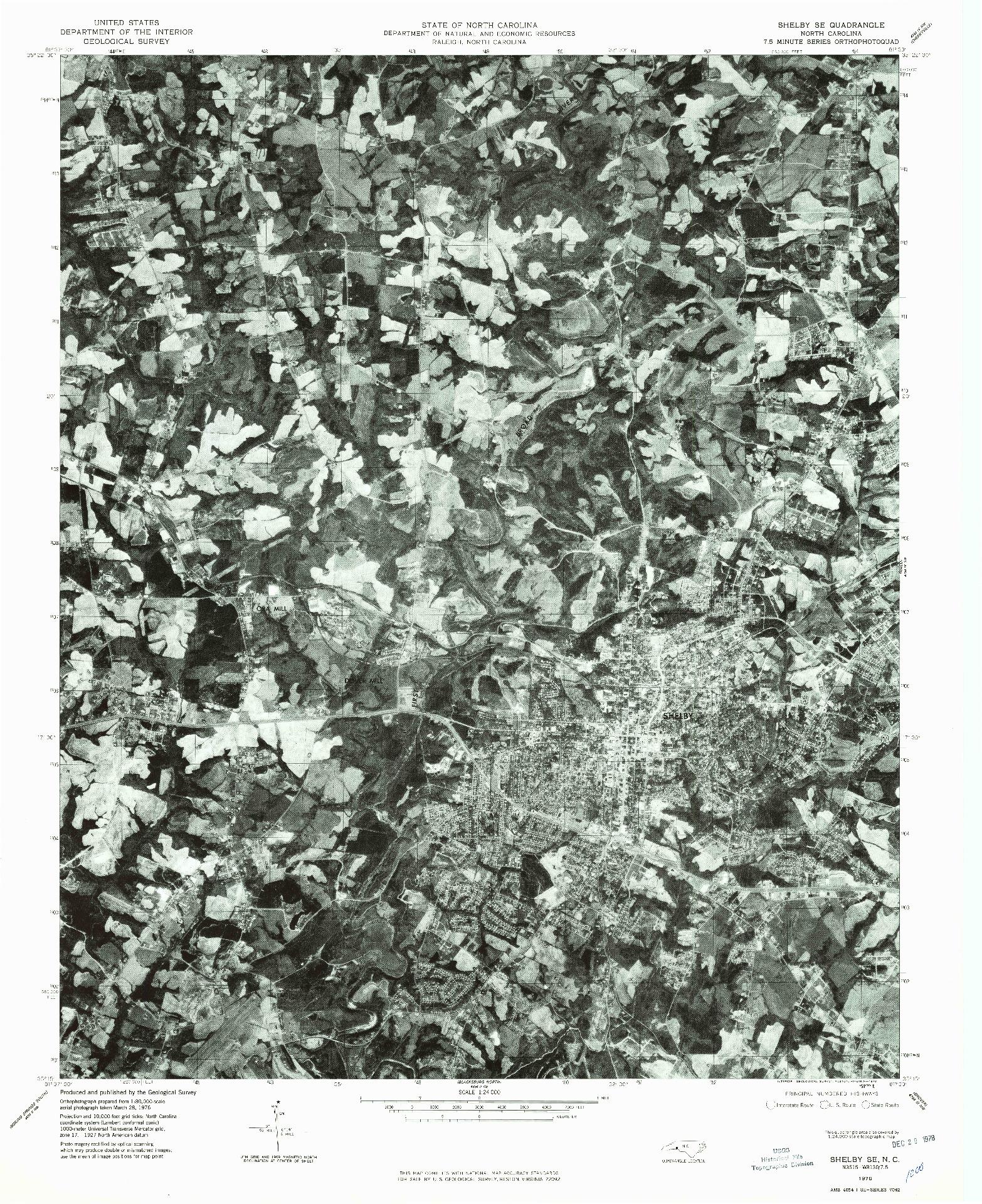 USGS 1:24000-SCALE QUADRANGLE FOR SHELBY SE, NC 1976