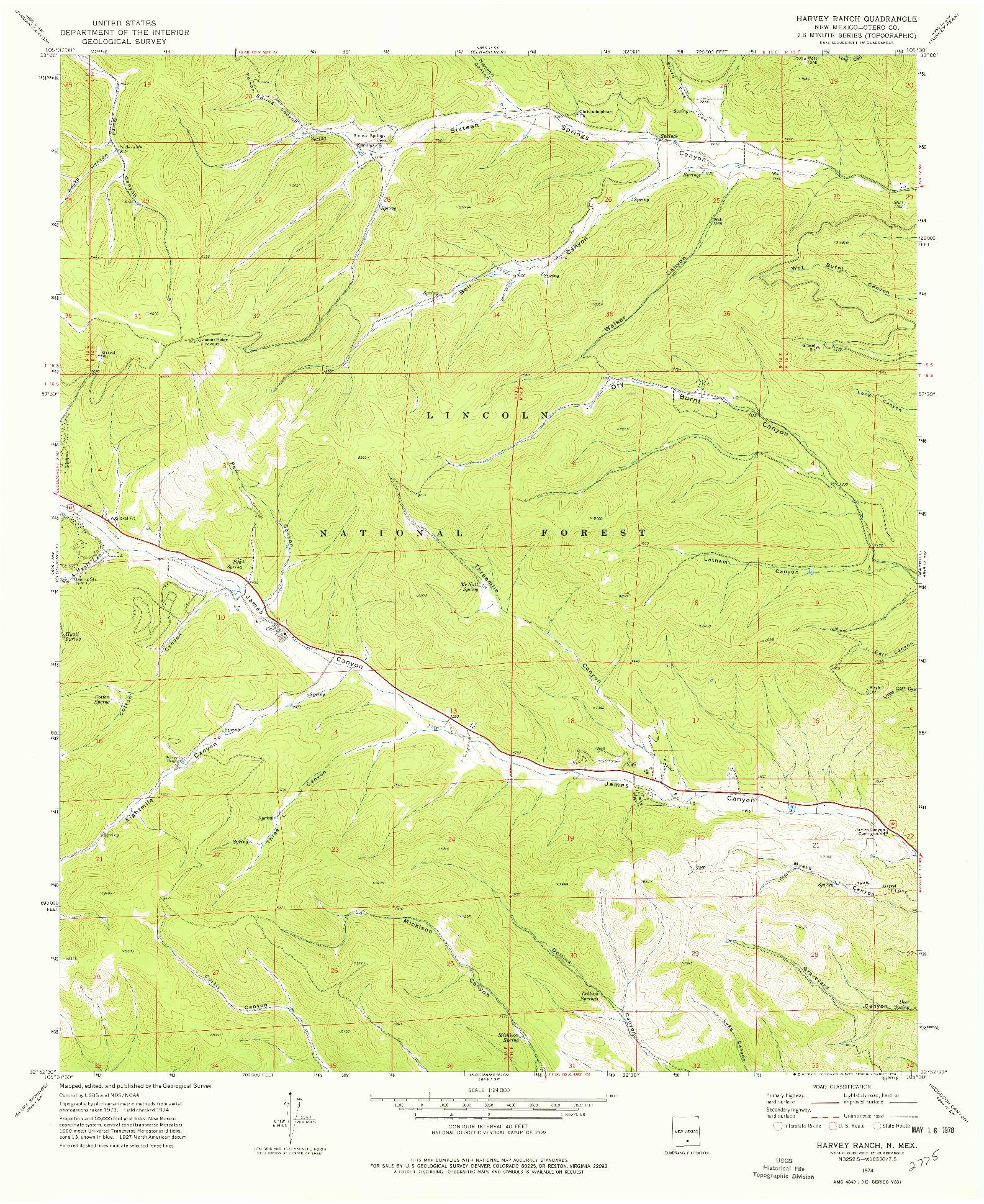 USGS 1:24000-SCALE QUADRANGLE FOR HARVEY RANCH, NM 1974