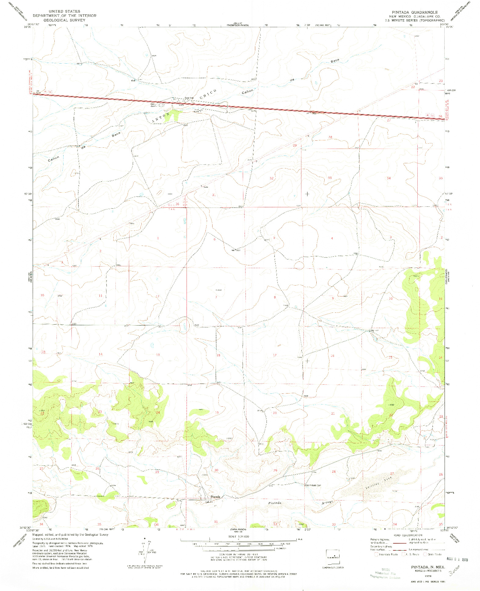 USGS 1:24000-SCALE QUADRANGLE FOR PINTADA, NM 1978