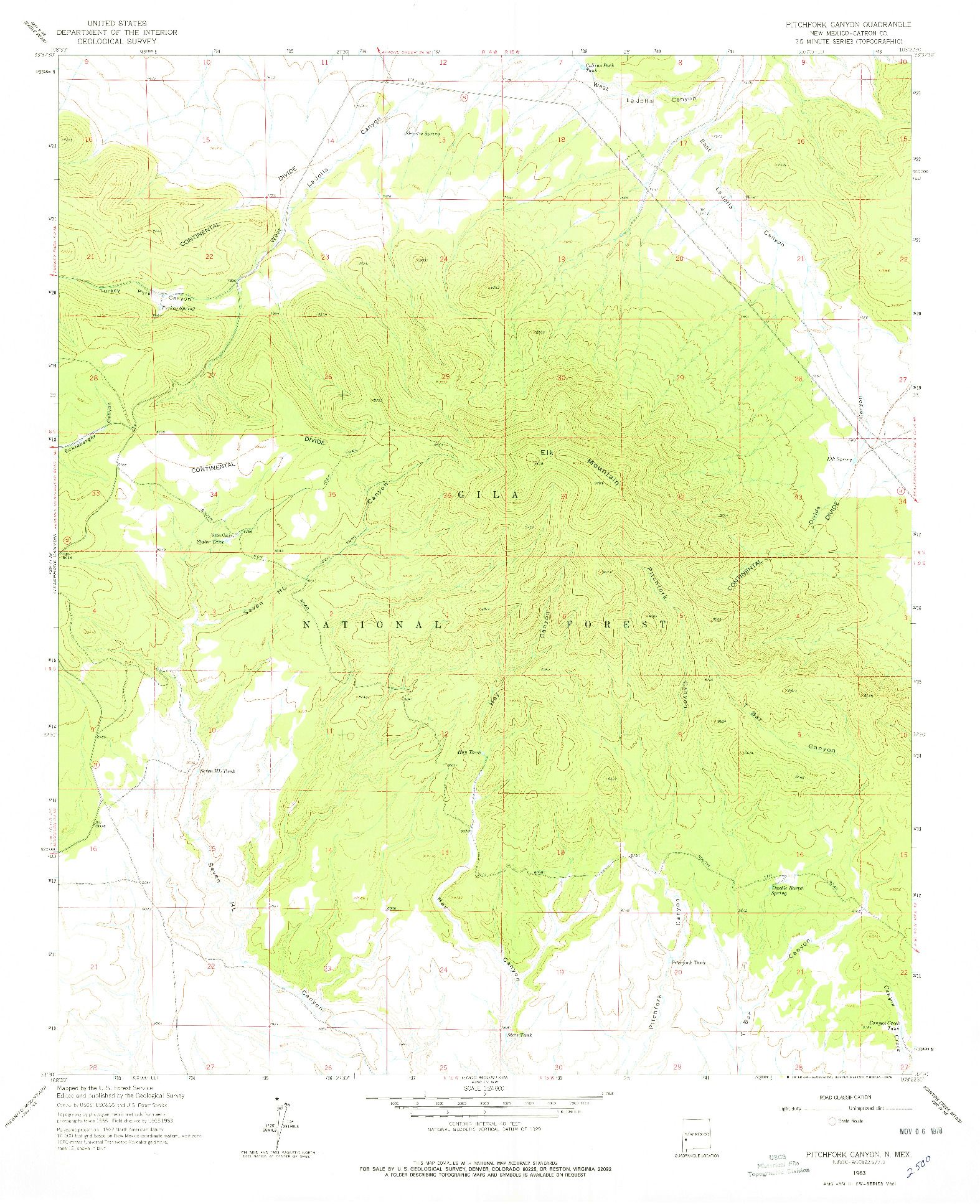 USGS 1:24000-SCALE QUADRANGLE FOR PITCHFORK CANYON, NM 1963