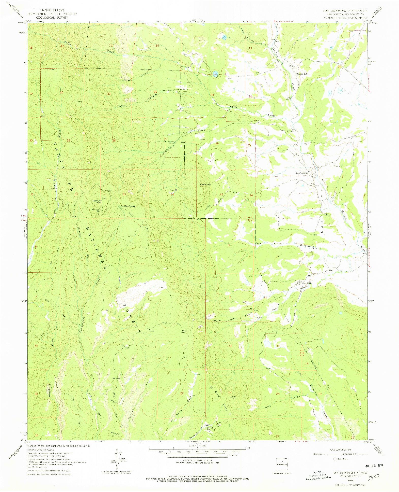 USGS 1:24000-SCALE QUADRANGLE FOR SAN GERONIMO, NM 1961
